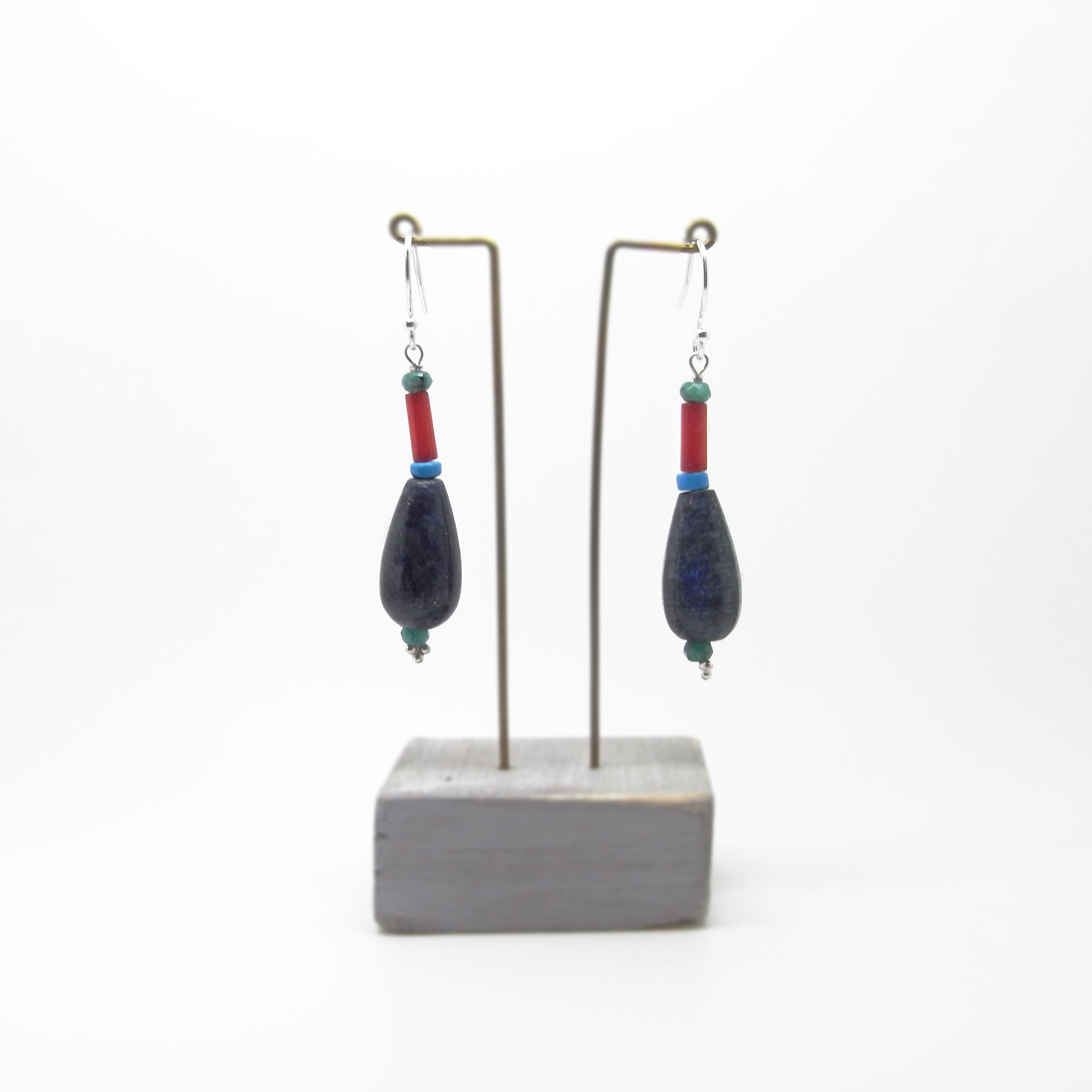 SALE - Lapis and Coral Bead Earrings Medium