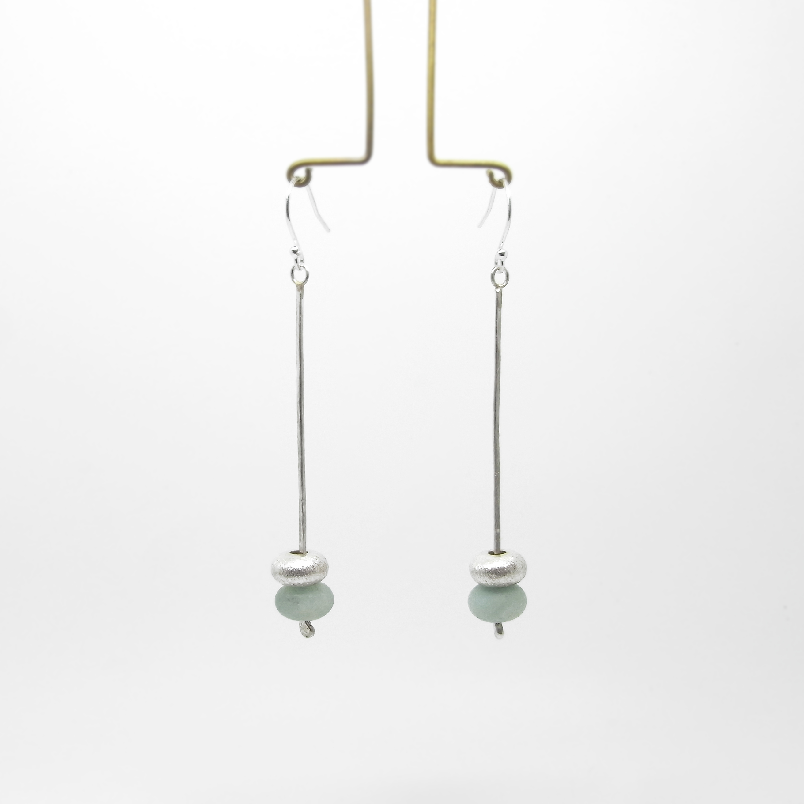SALE - Silver and Amazonite Drop Earrings - Green