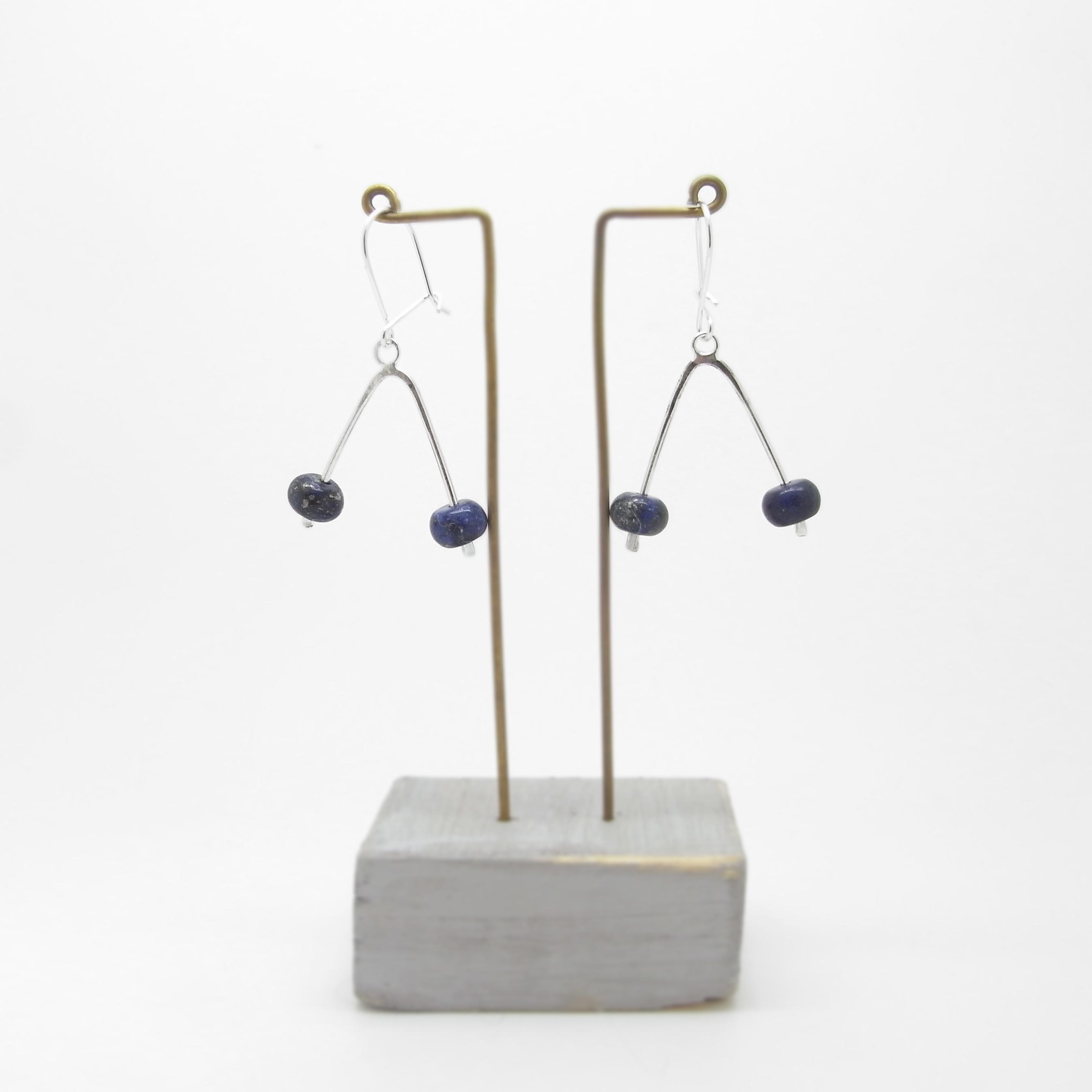 Wishbone Earrings - Lapis