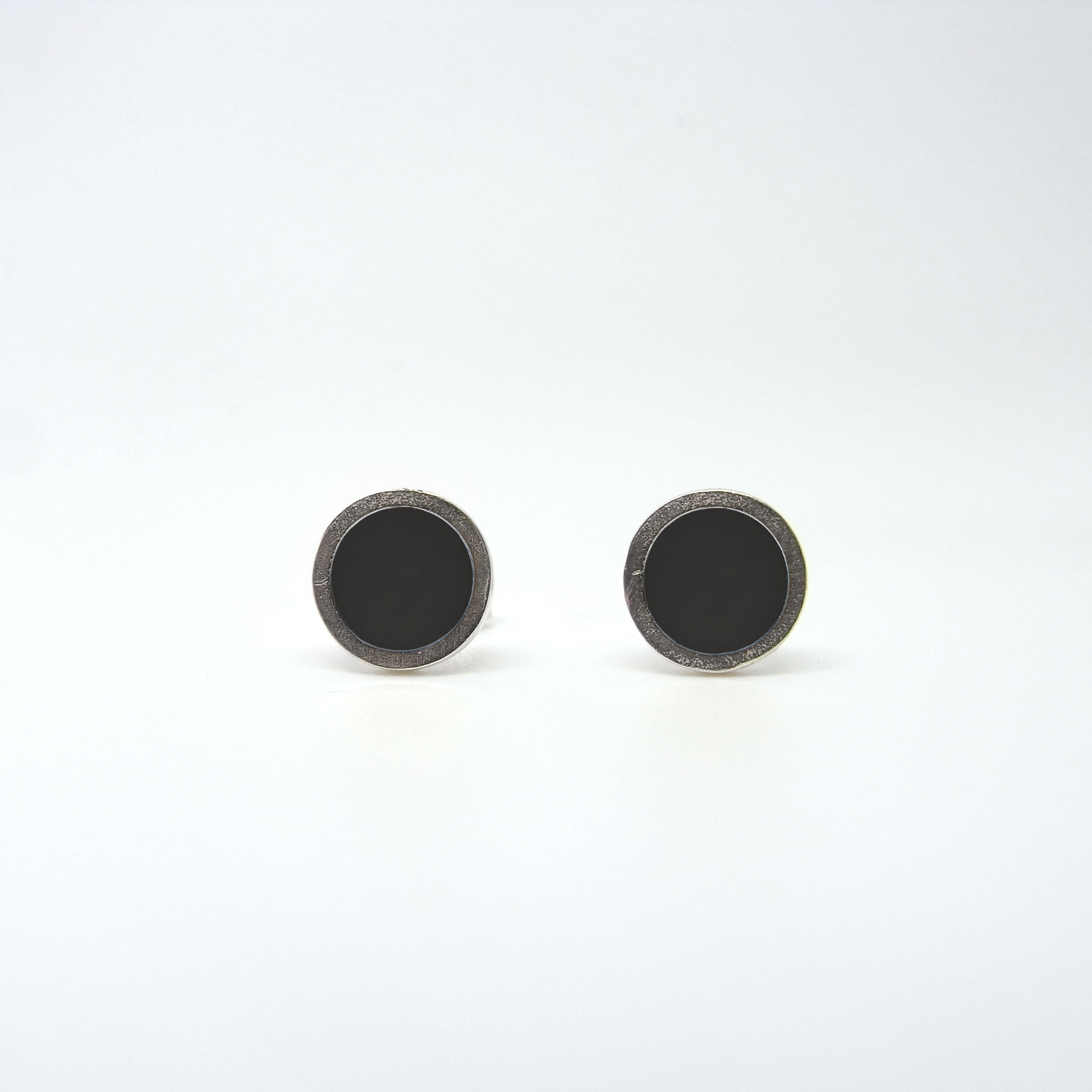 Small Coloured Dot Studs Black