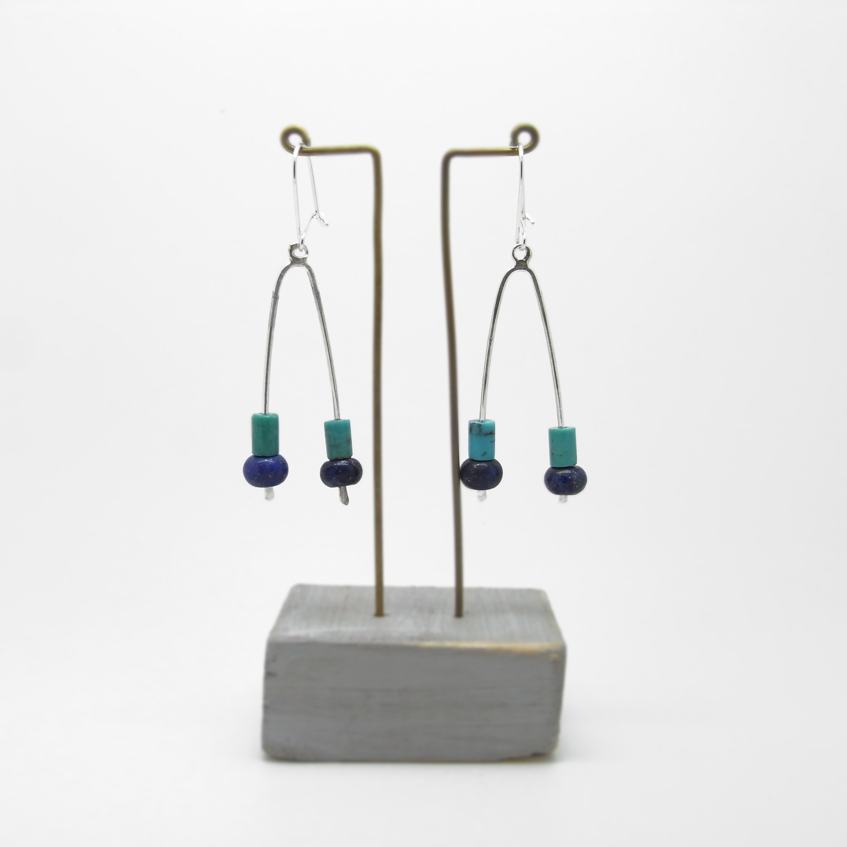 Wishbone Earrings - Turquoise & Lapis