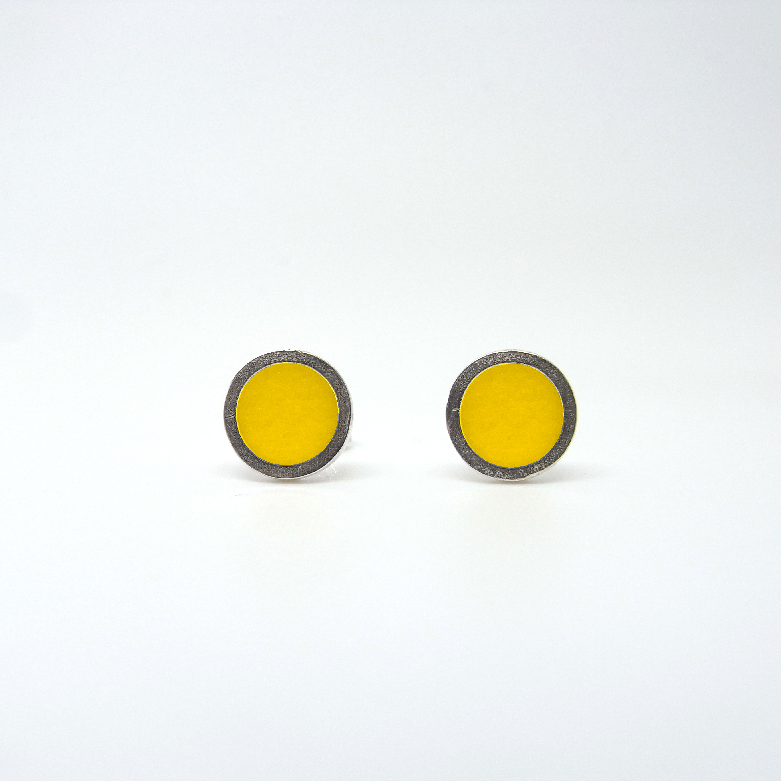 Small Coloured Dot Studs Yellow