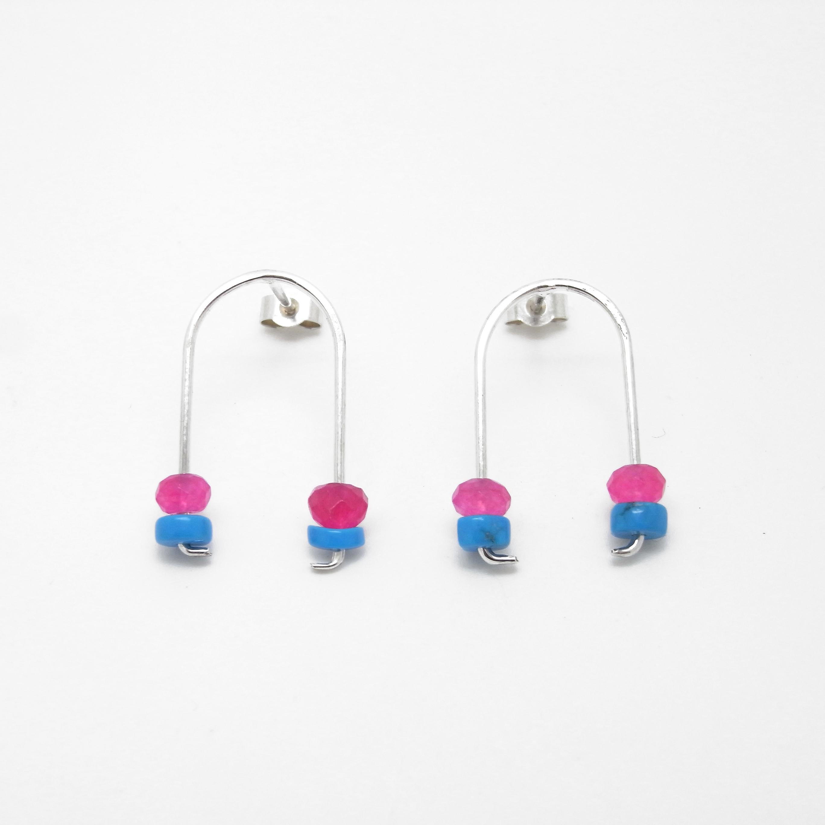 Wishbone Stud Earrings - Turquoise and Pink Agate