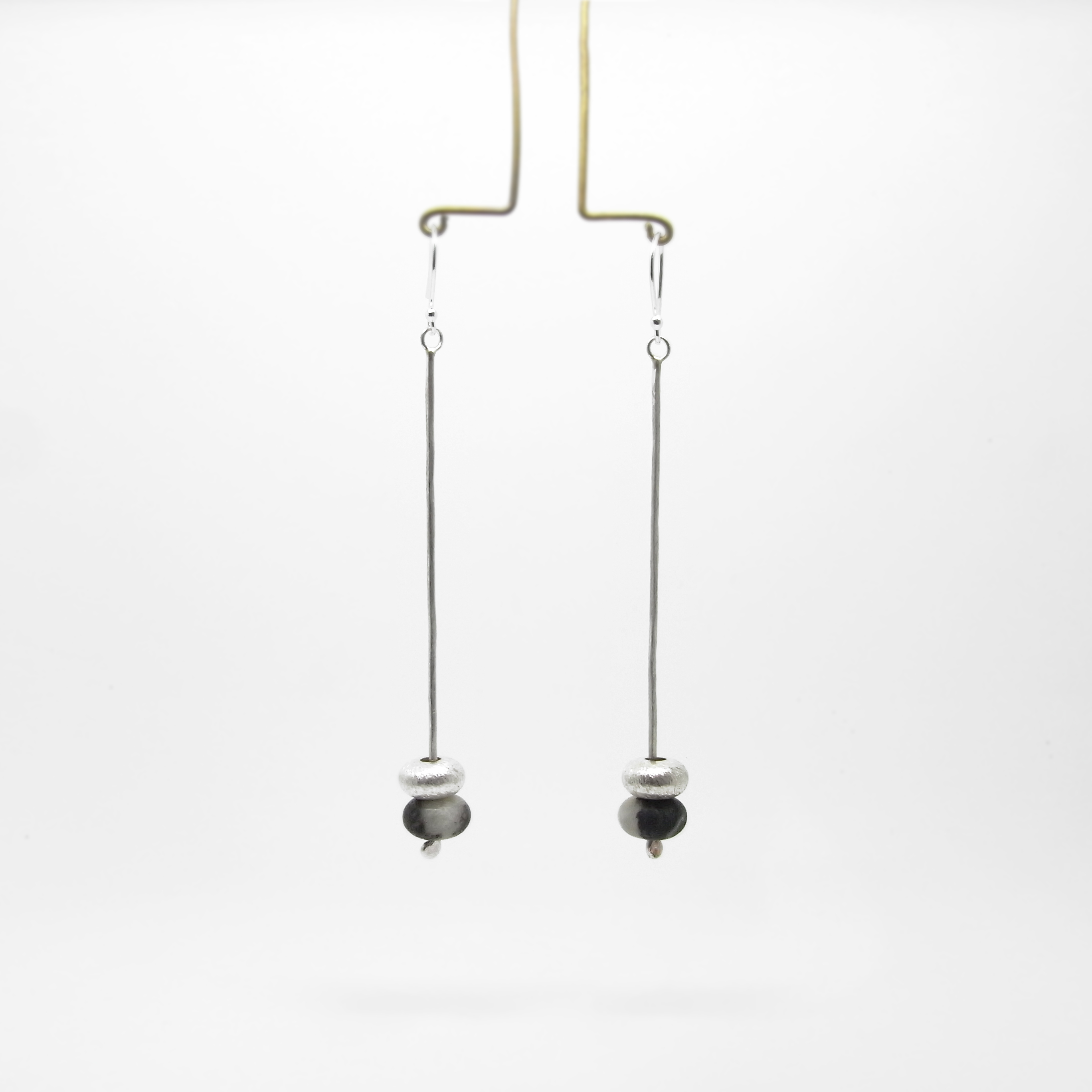 SALE - Silver and Amazonite Drop Earrings - Grey