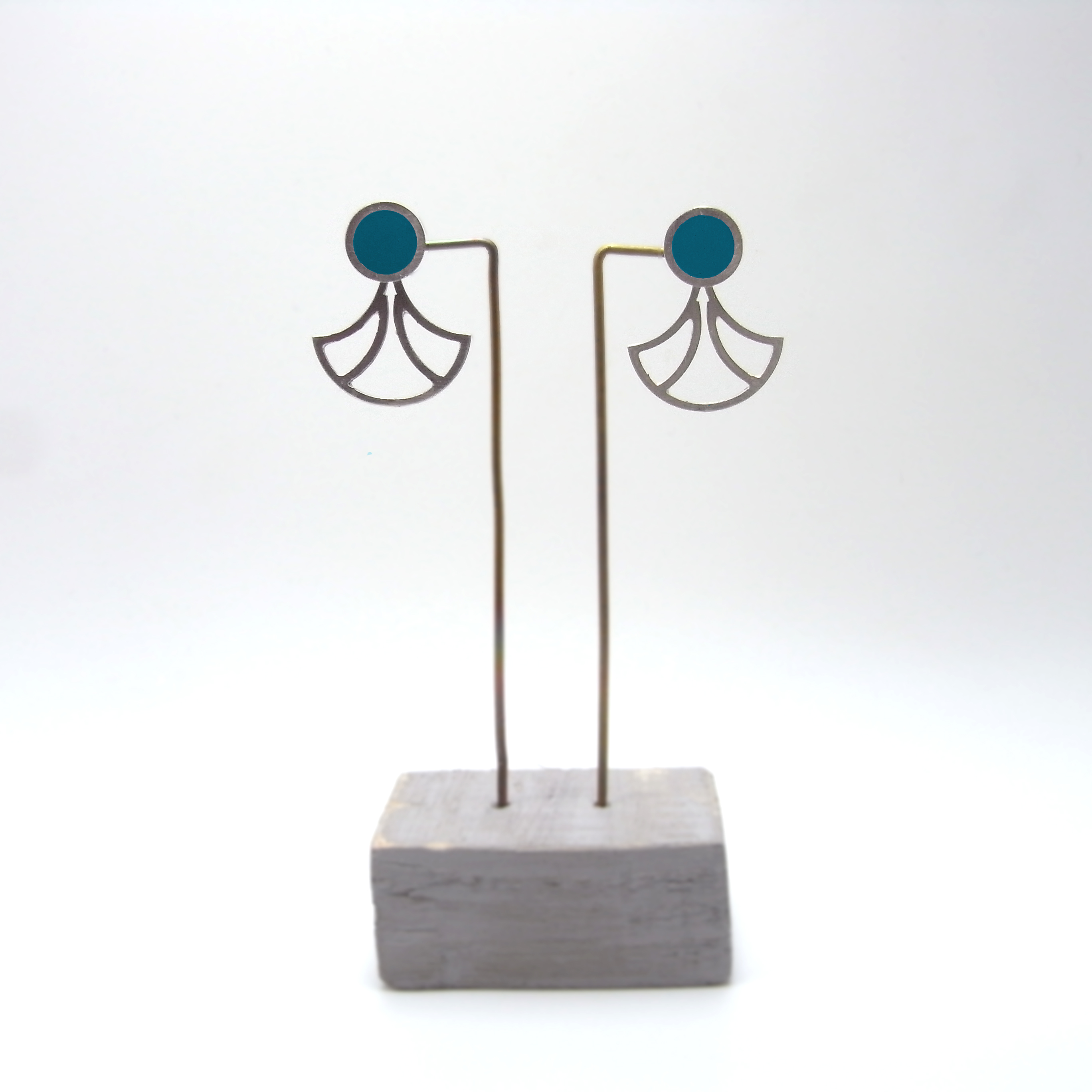 Small Fan with Stud Earrings (made to order)