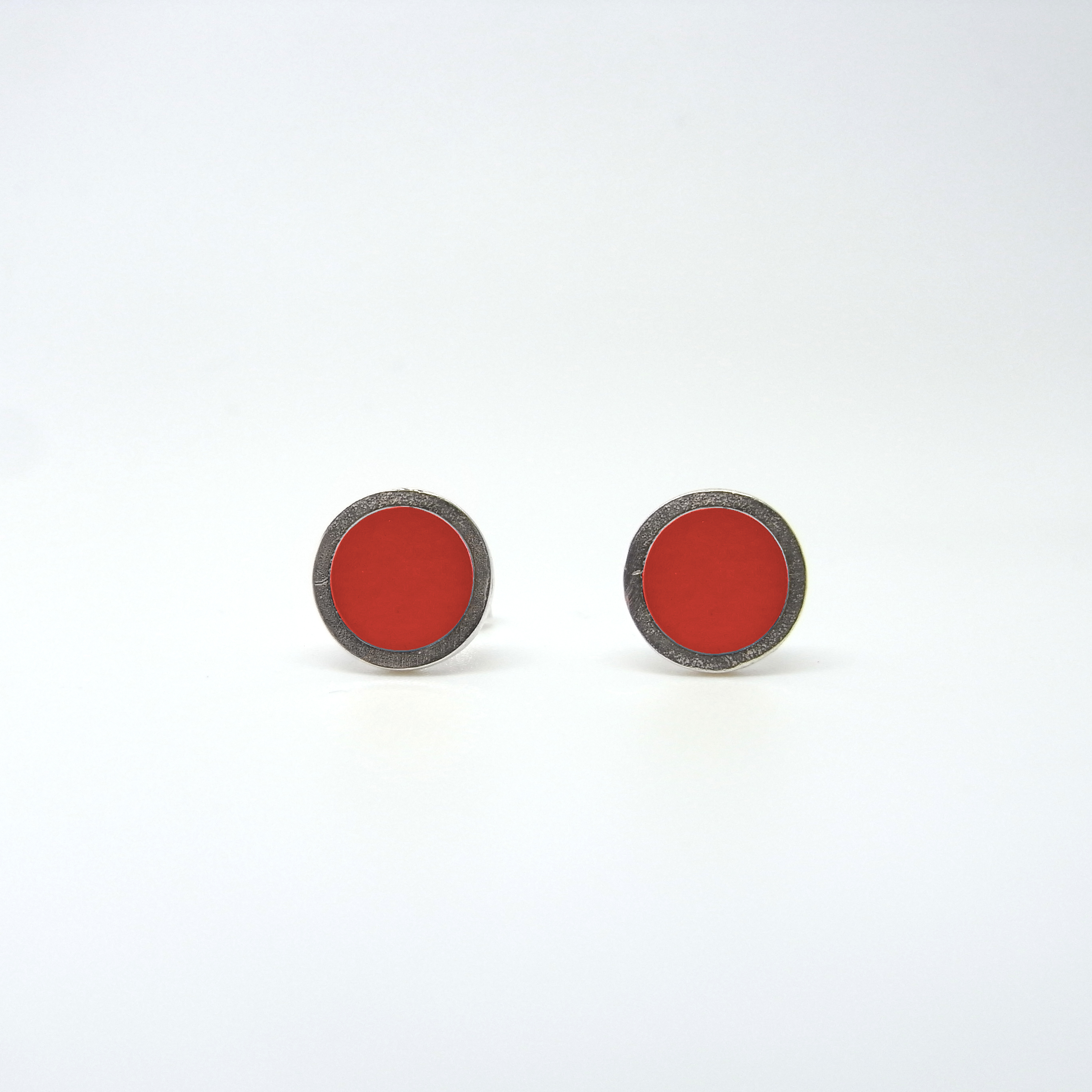 Small Coloured Dot Studs Red