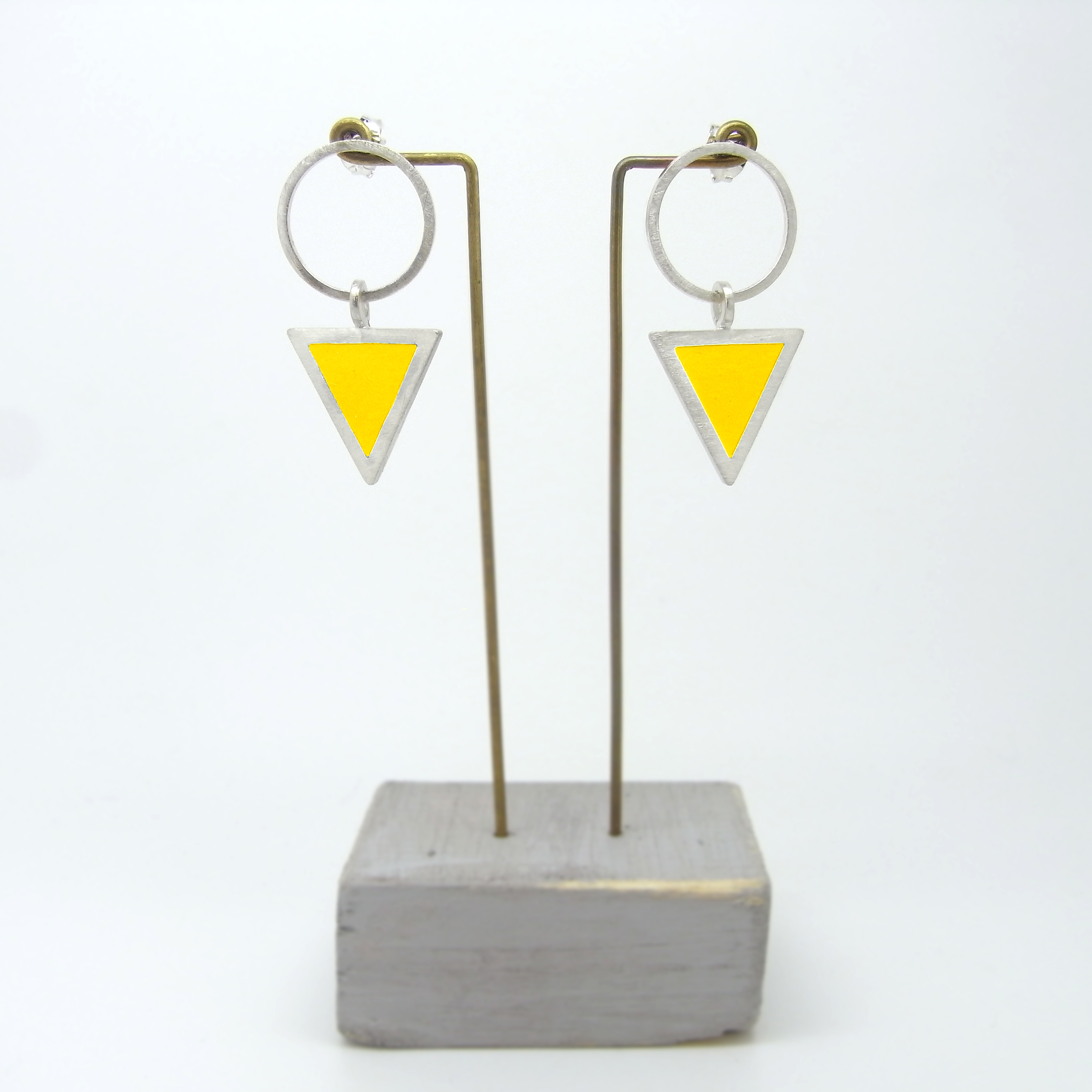 Triangle on Large Circle Stud Earrings (made to order)