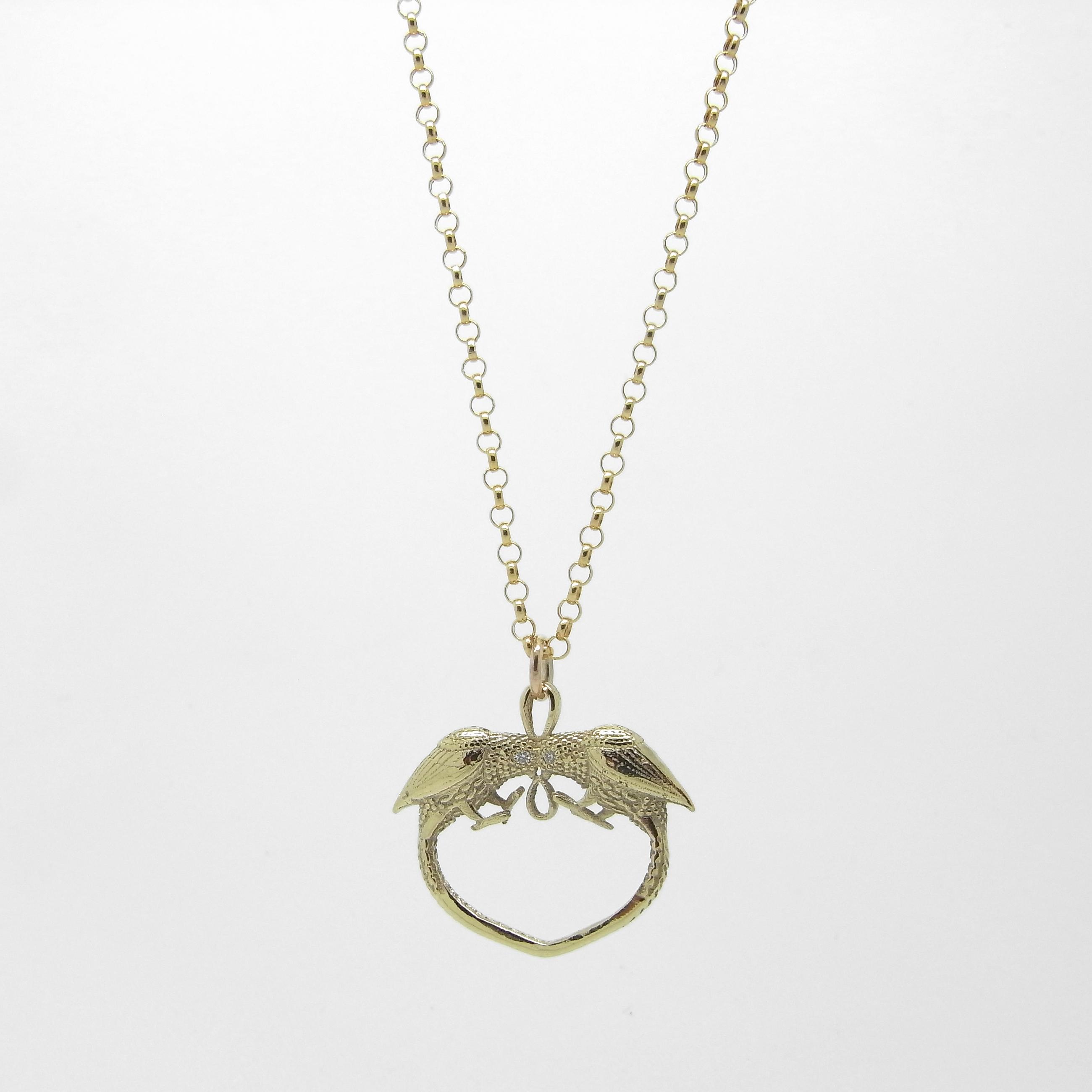 Love Bird Necklace - Gold  / Diamonds
