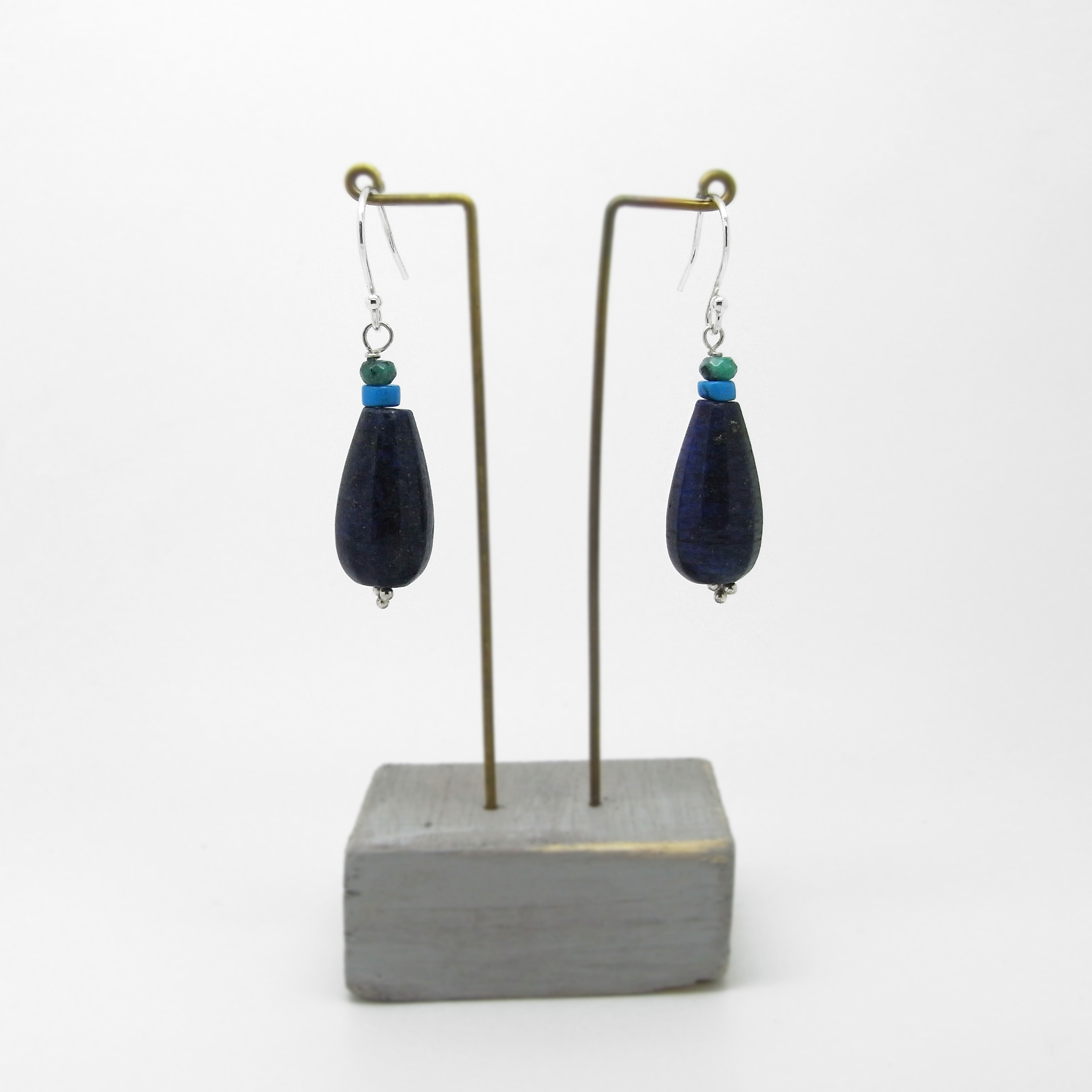 SALE - Lapis and Turquoise Bead Earrings Small