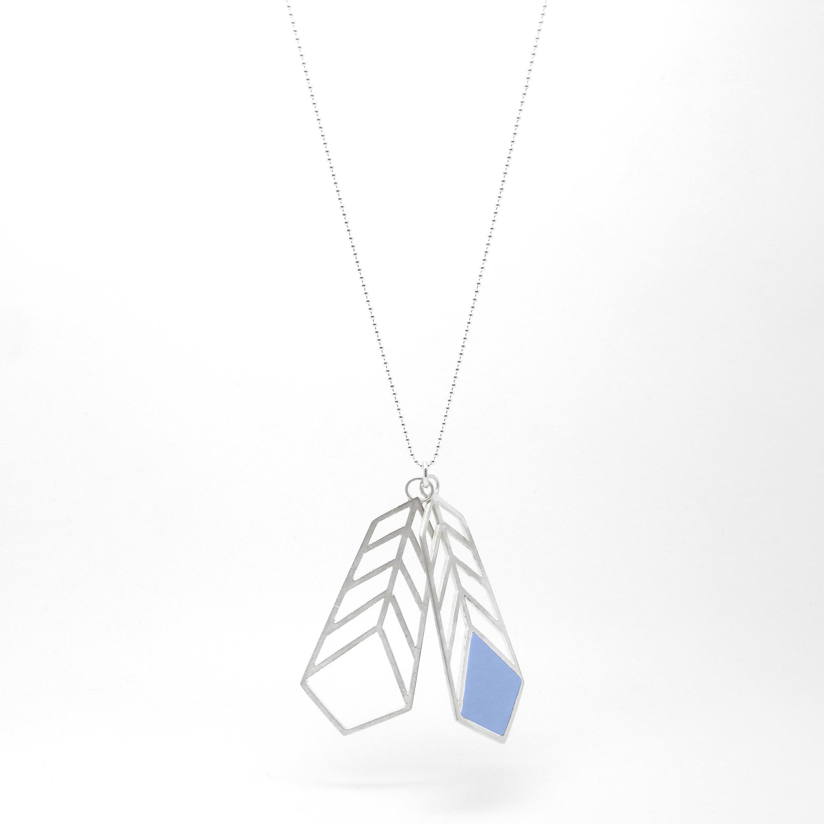 Double Chevron Necklace Blue