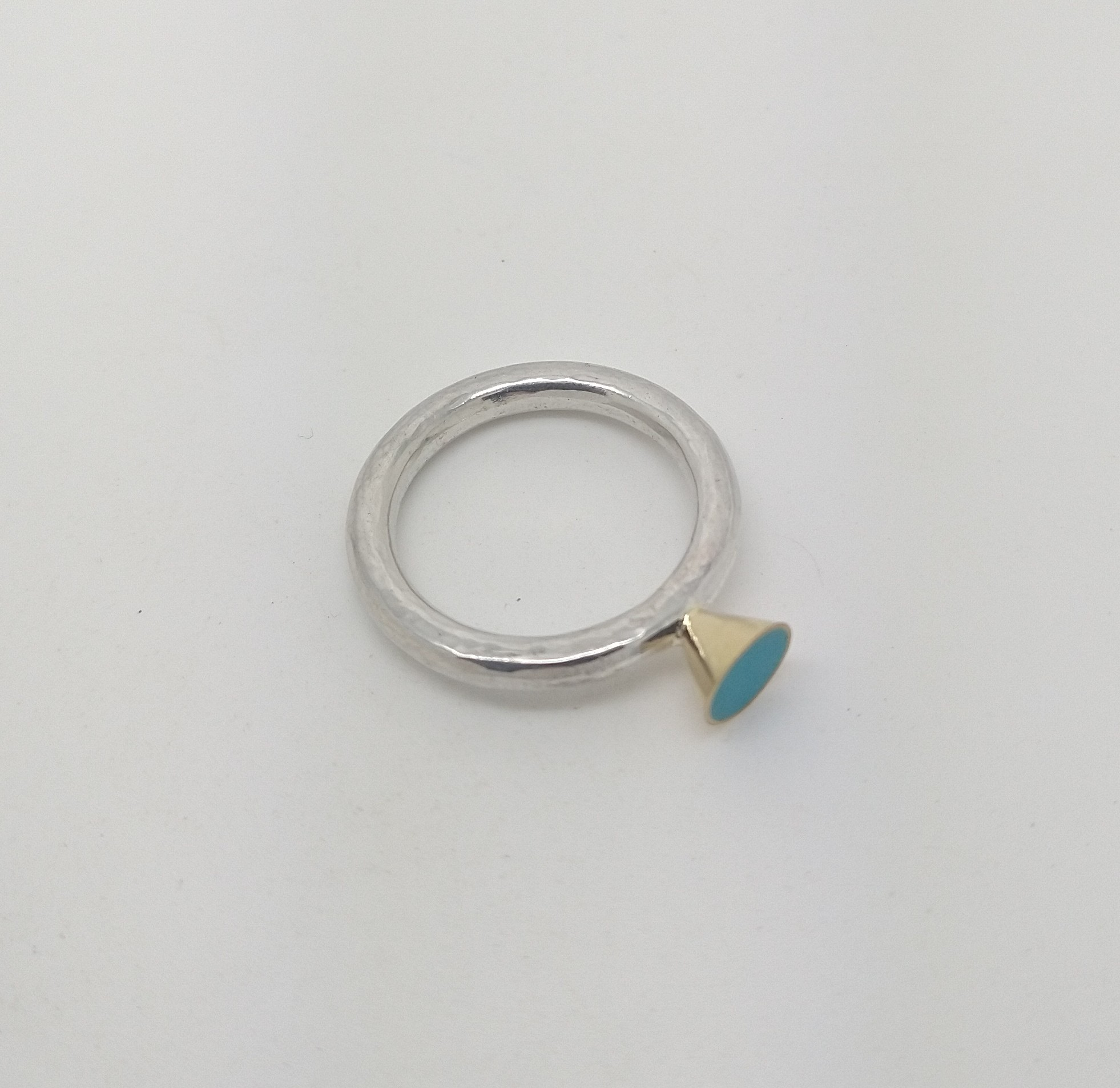 Silver and 18ct Yellow Gold Ring - Size N