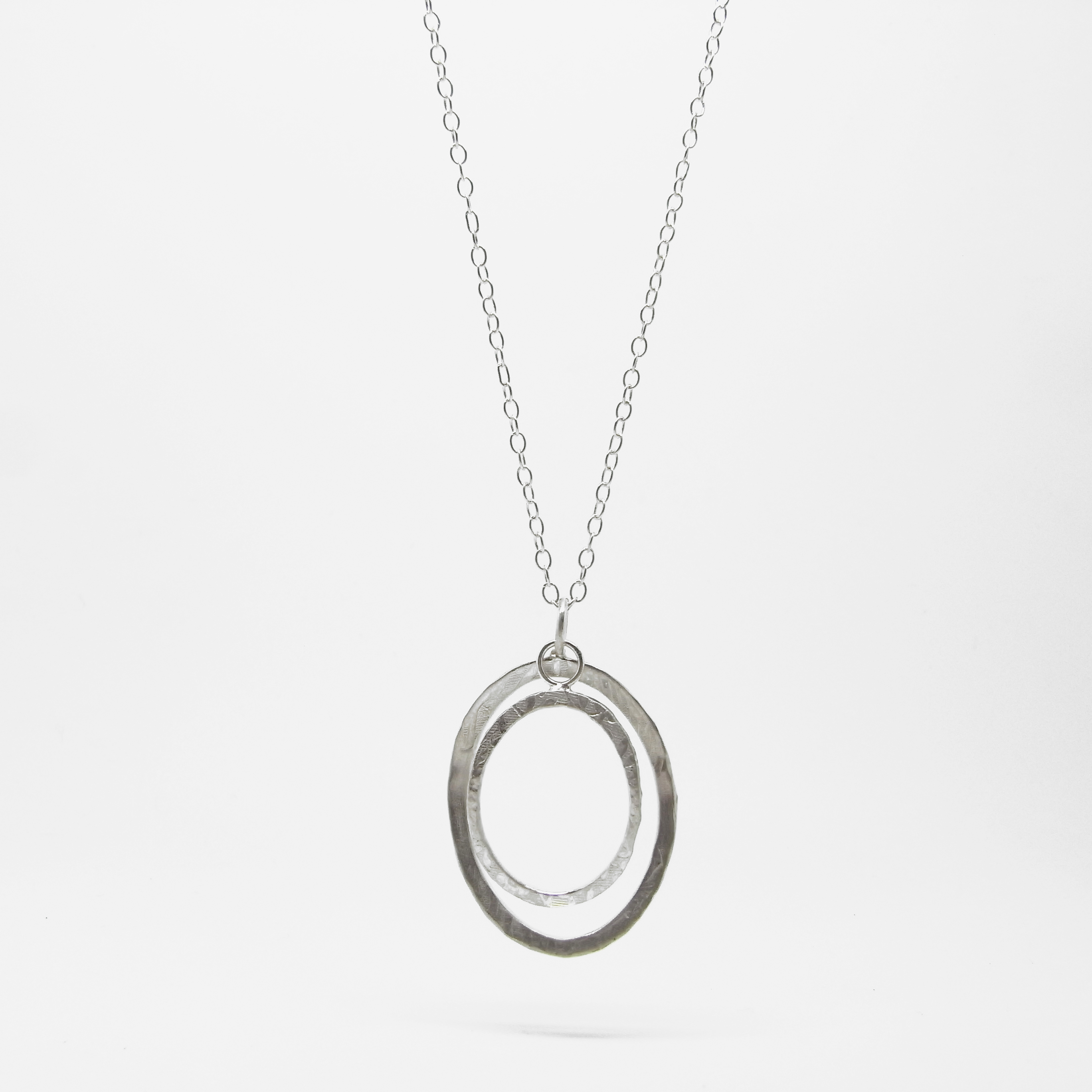 Long Two Ring Pebble Necklace + Earrings
