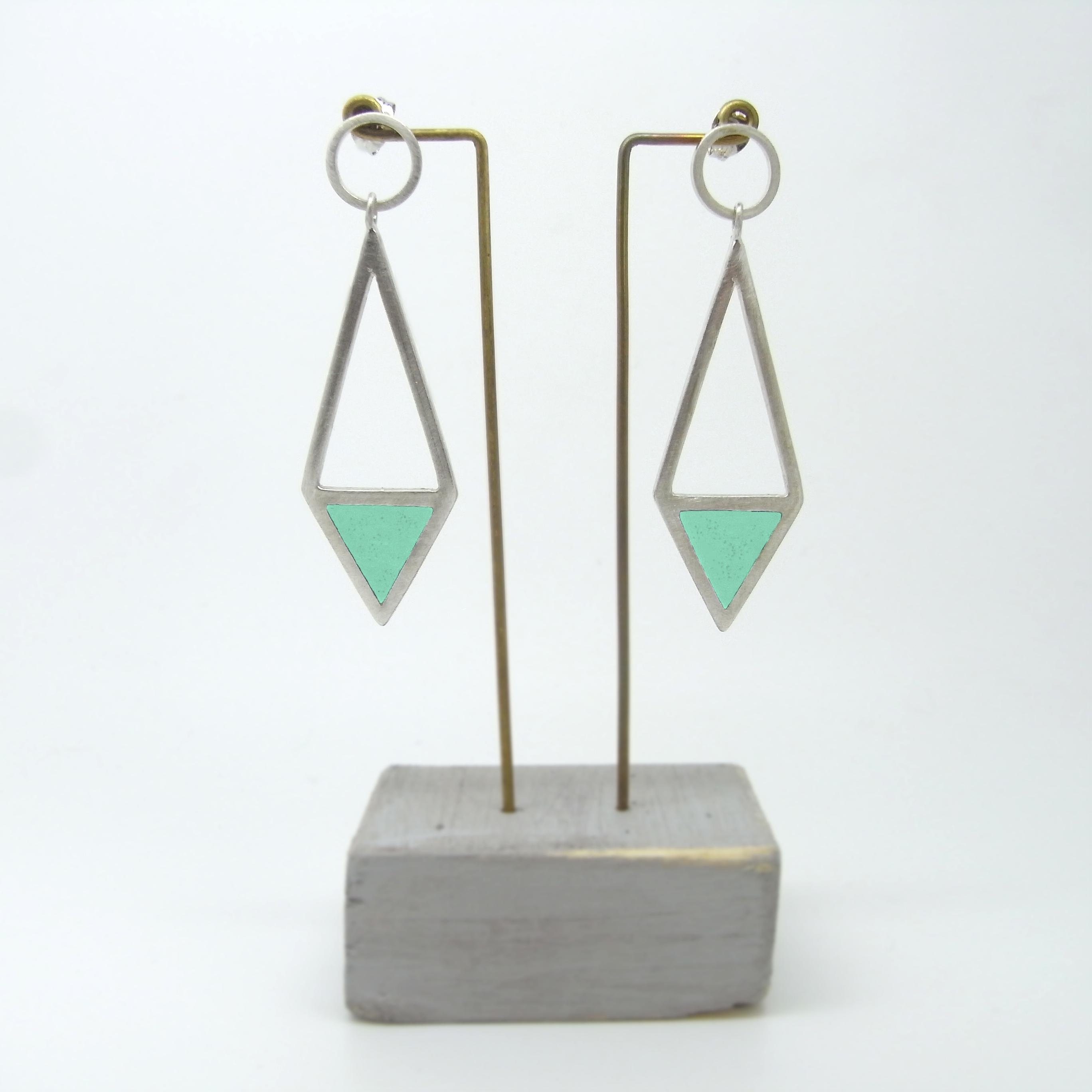 Diamond Shape Drop Earrings Green