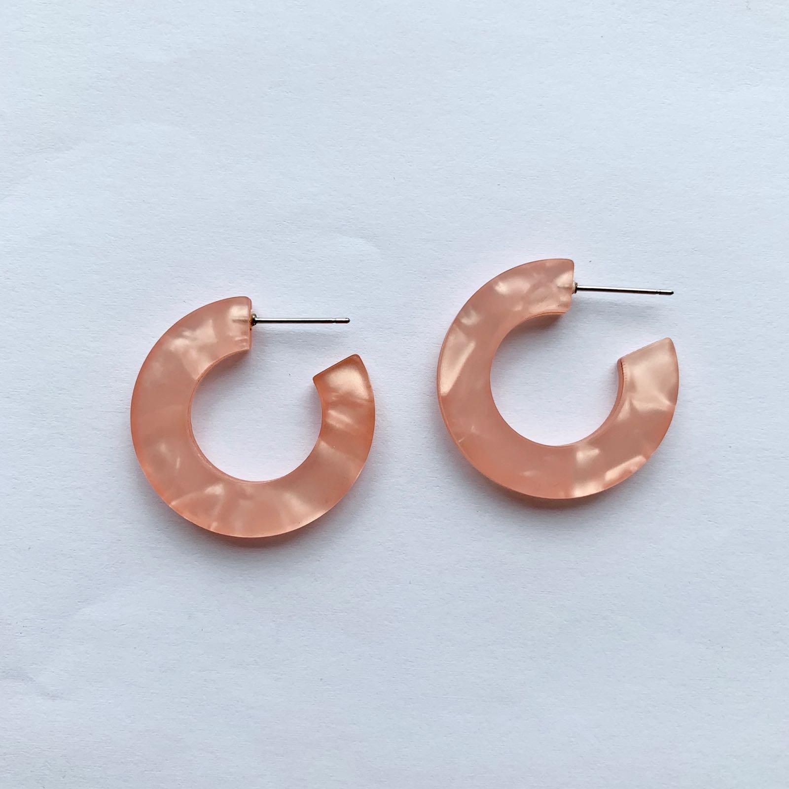 Odette Resin Tiny Hoop Earring Pink