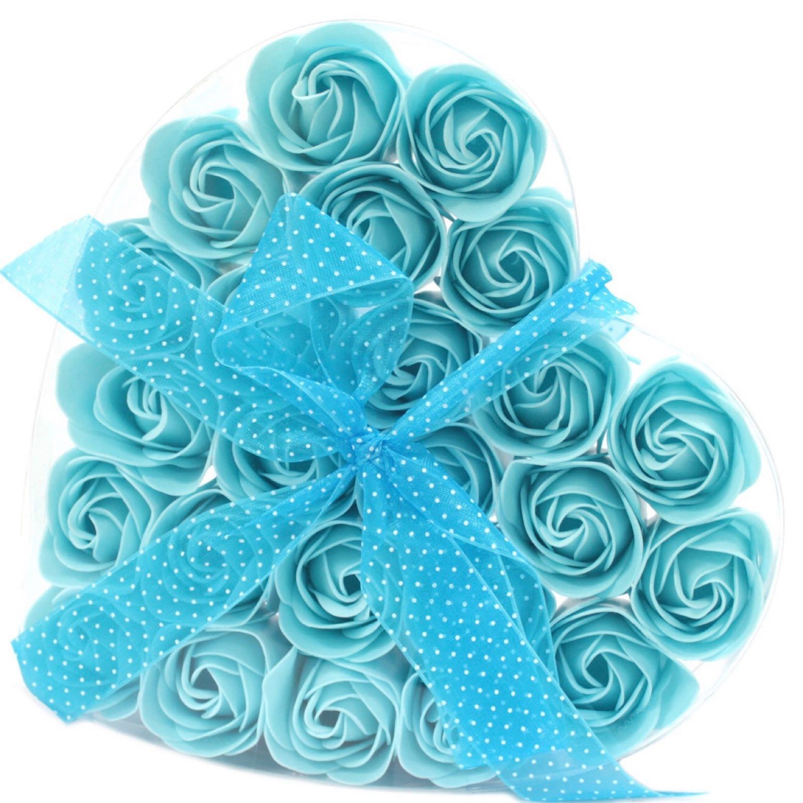 Soap Flower Heart Box - Blue Roses (Was £8.50)