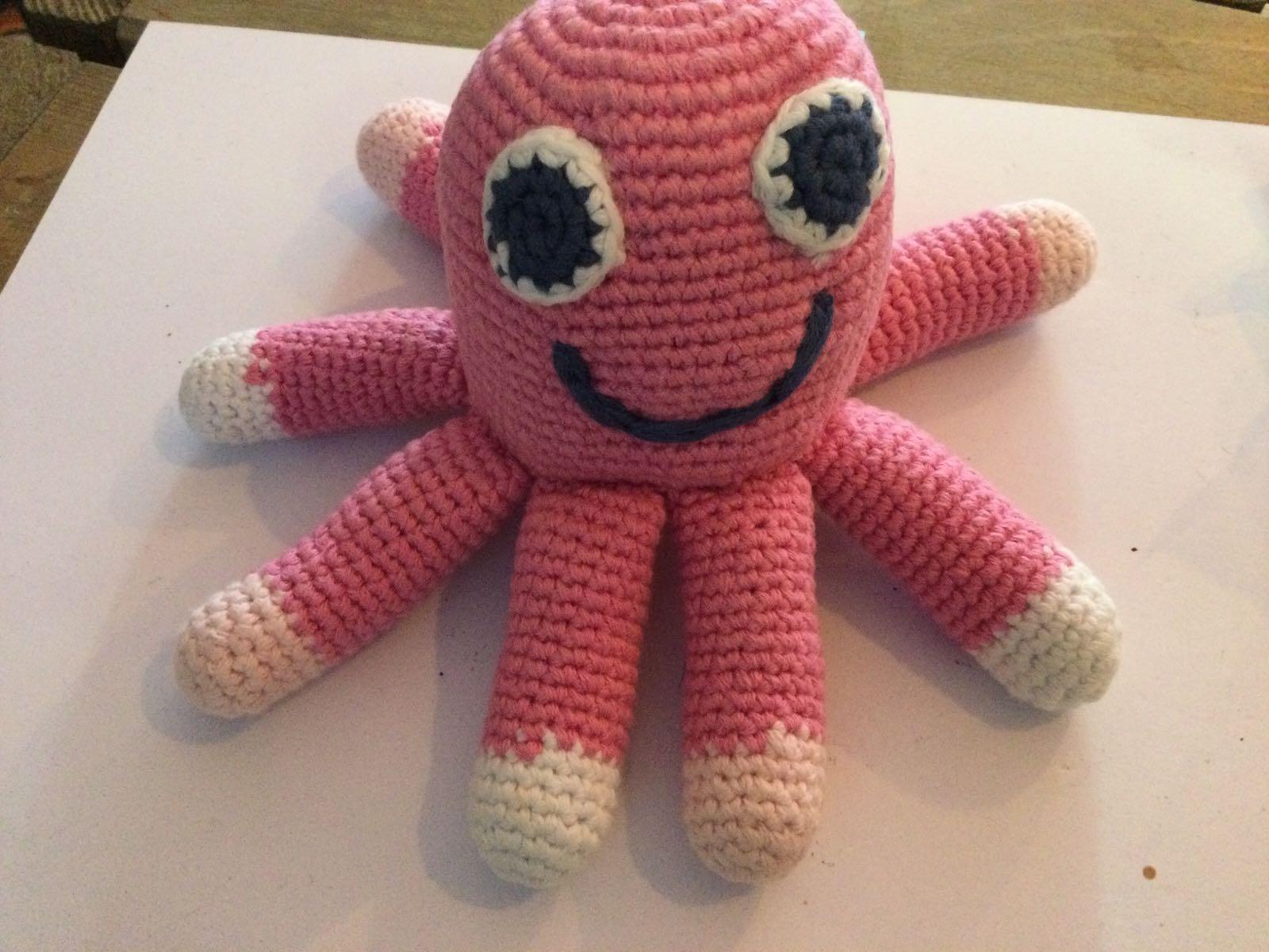 Pebble - Crochet Octopus Rattle - mid Pink