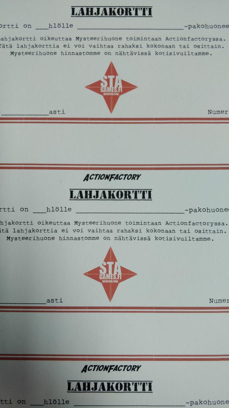 Lahjakortti 50 € (kartonkinen)