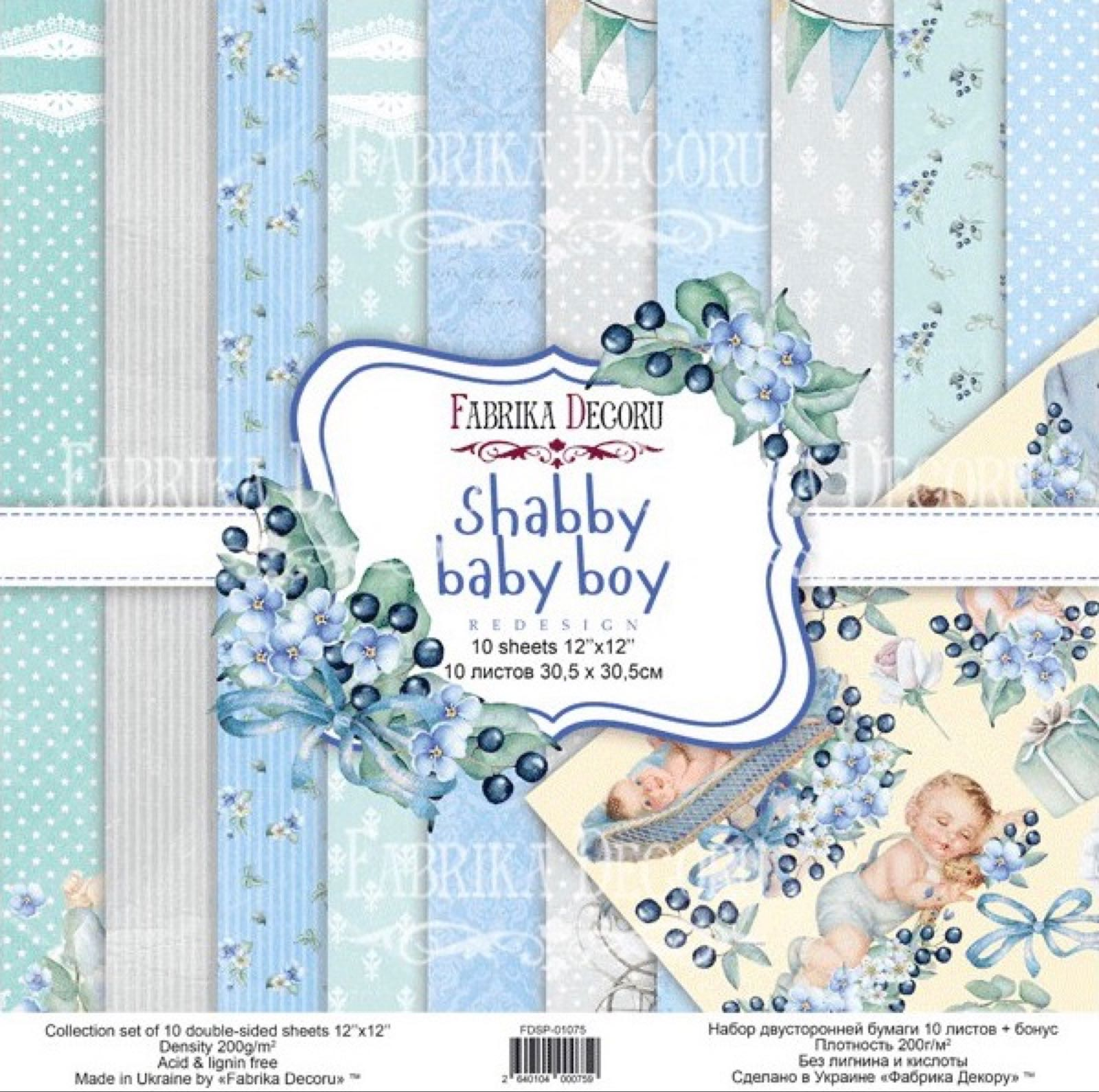 Redesign 12x12, shabby baby boy collection  paper pack, FDSP-01075