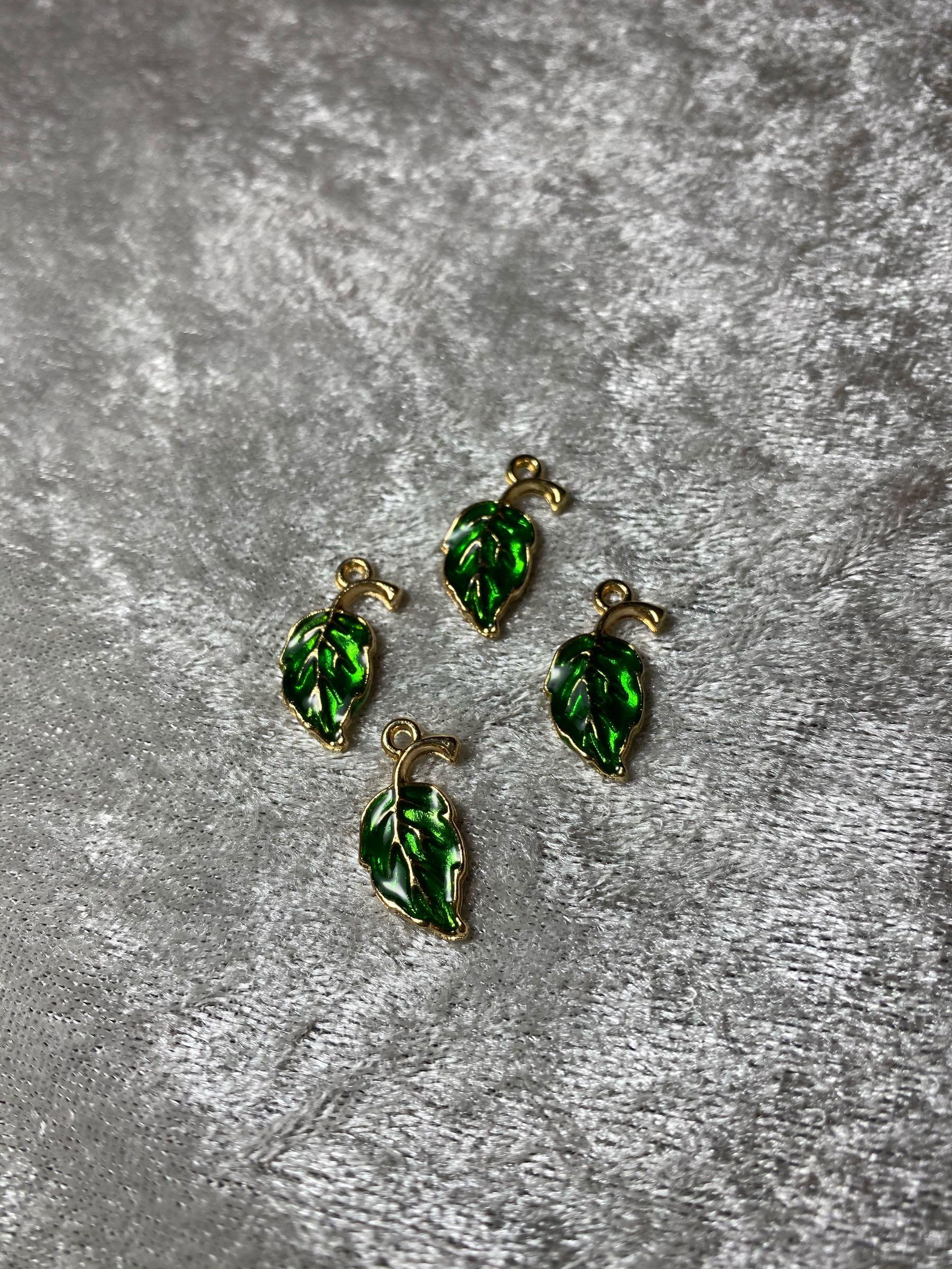Løv / blad, charm, grønn. 8stk