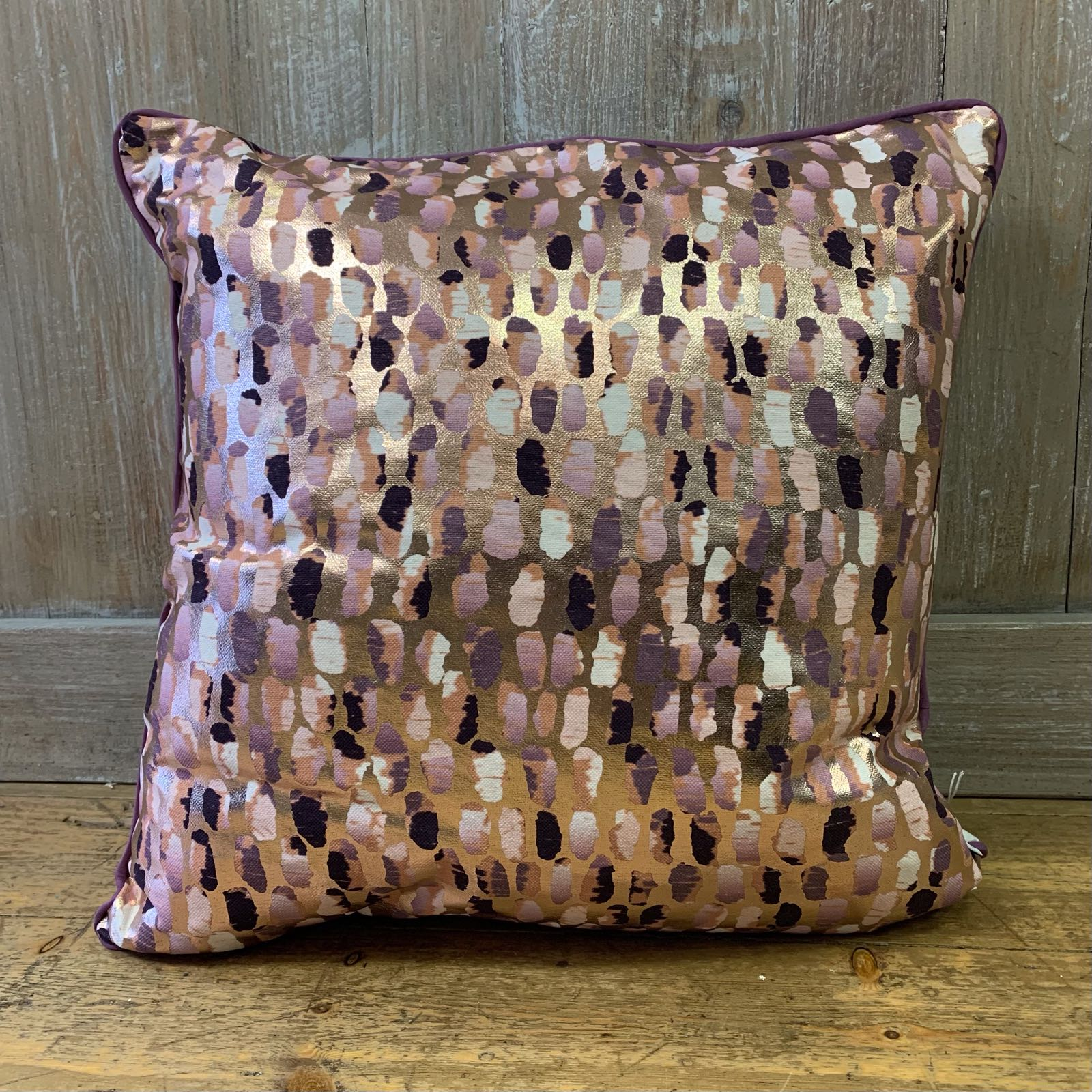 Daub Cushion - Rose Gold/Aubergine
