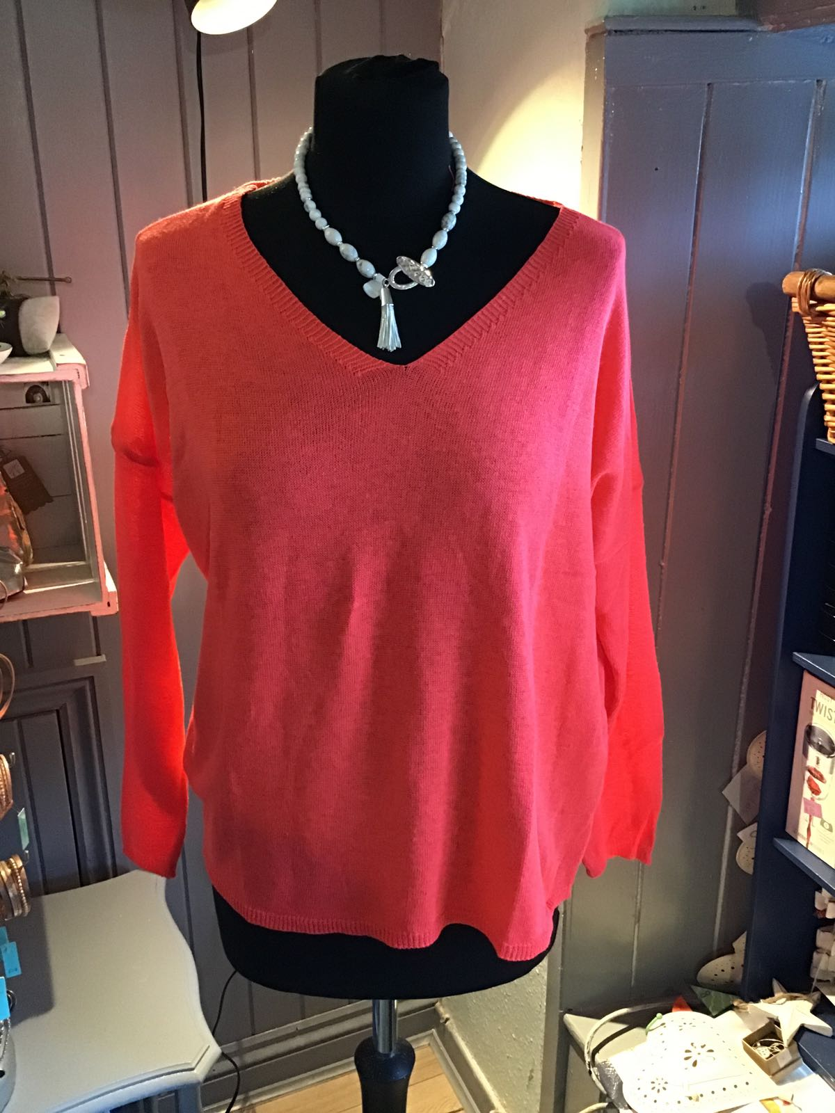 MSH coral knitted long sleeved top