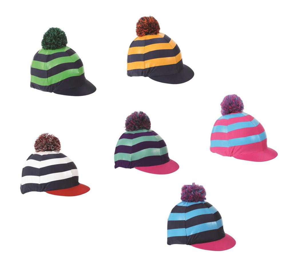 Shires Pom Pom Stripes Hat Cover Silk