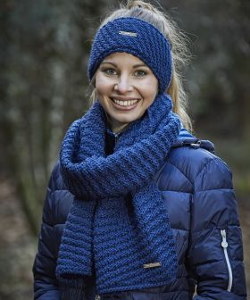 Covalliero Knitted Scarf Navy