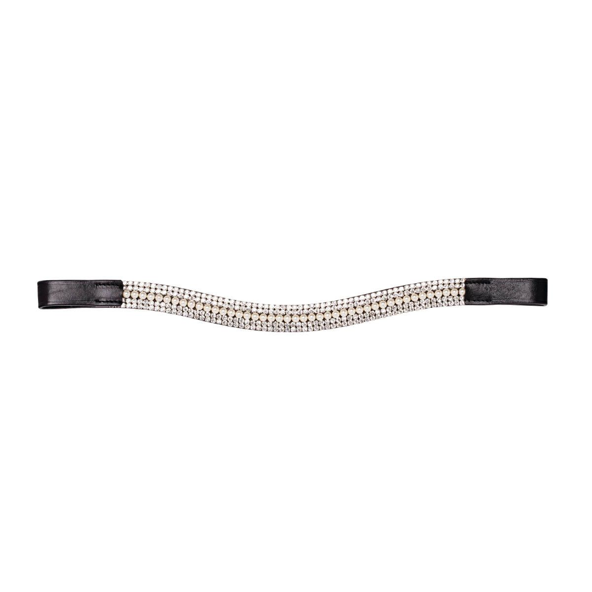 Caldene Curved 5 Row Diamante and Pearl Browband Black