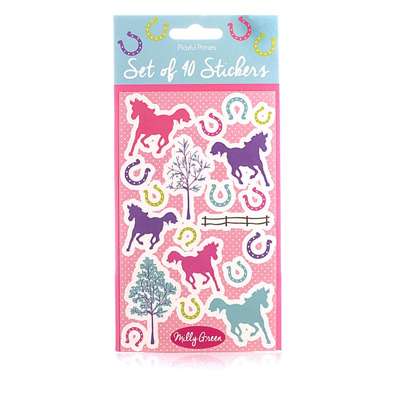 Milly Green Playful Ponies 40 Sticker Set