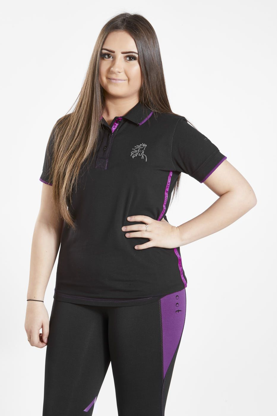 Firefoot Childs Crofton Black Sparkle Polo Top