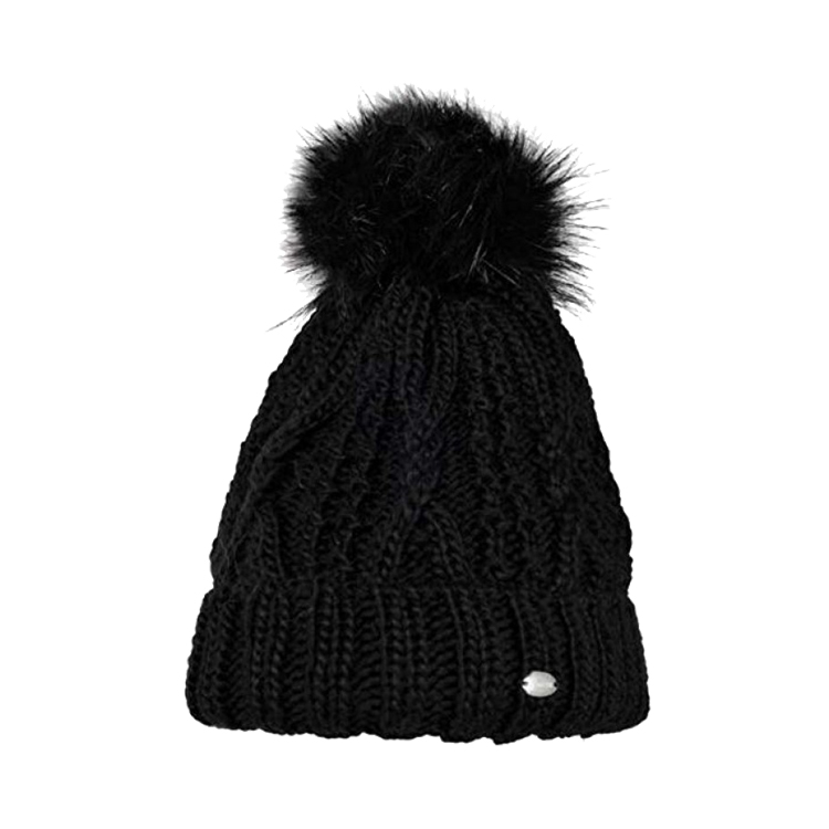 Pikeur Mutze Fell Black Knitted Lined Bobble Hat