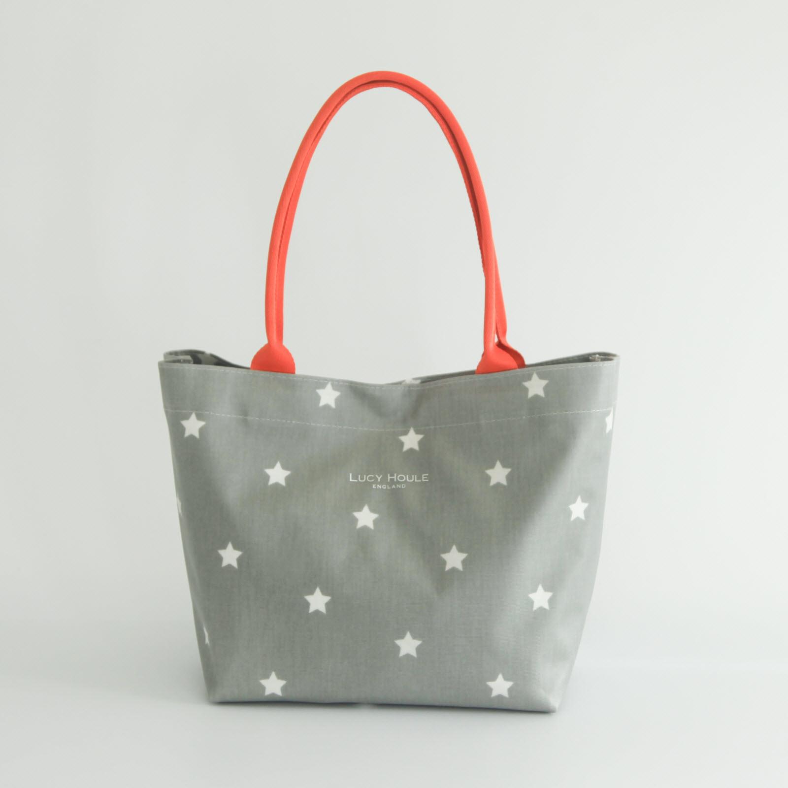 Grey White Star Small Tote Bag Orange Handles