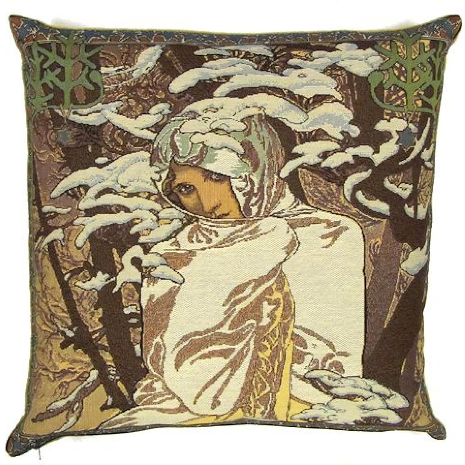 Massivt Gobelin pude - Alfons Mucha, Winter, 45x45cm - VILD MED SKIND Deco TT79