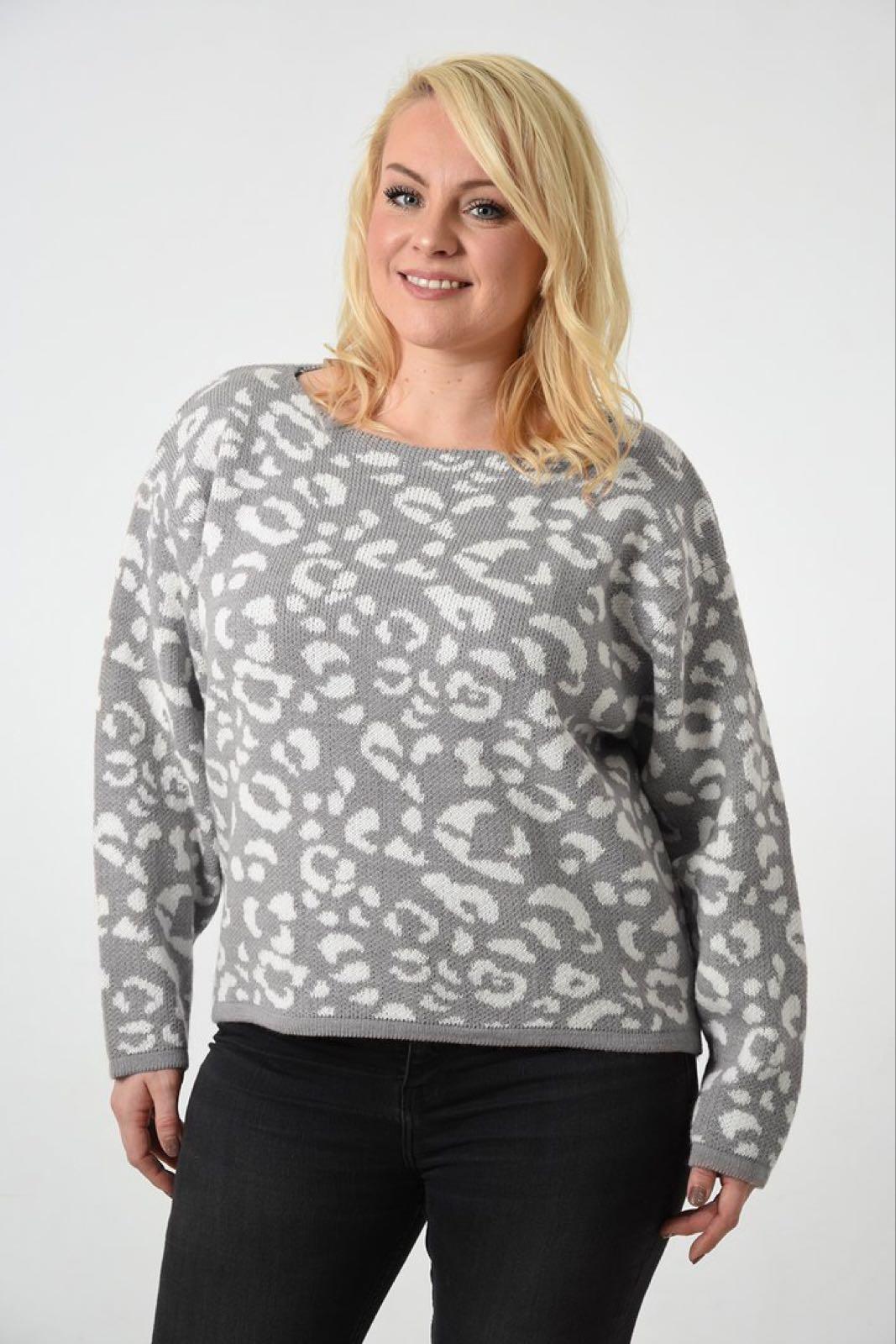 2bf033bb Leopard Print Chunky Knit Sweater - Light Grey - Guluzar
