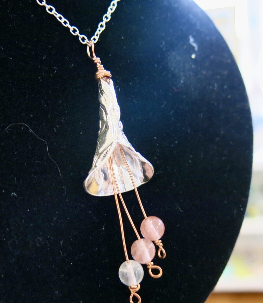 SILVER AND COPPER BELL PENDANT NECKLACE