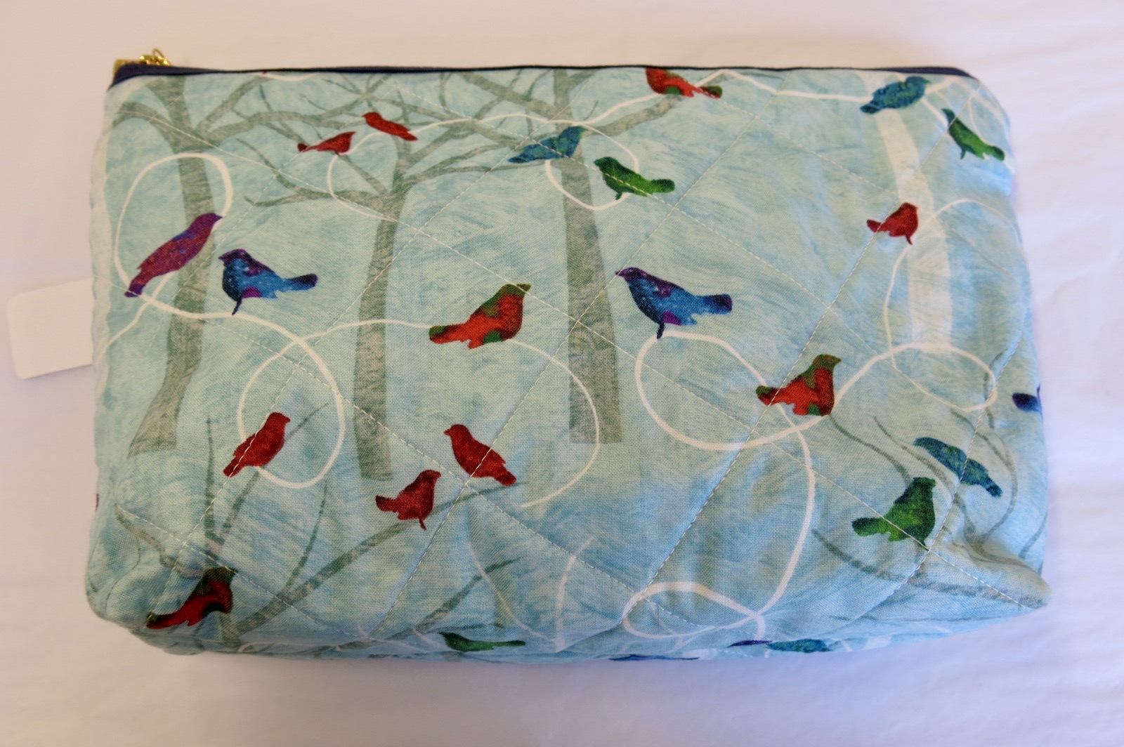 MAKE UP BAG BLUE BIRDS DESIGN