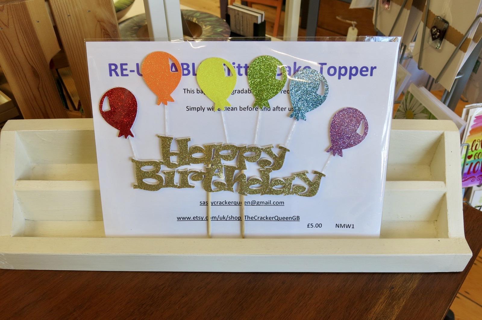 HAPPY BIRTHDAY RAINBOW BALLOONS CAKE TOPPER
