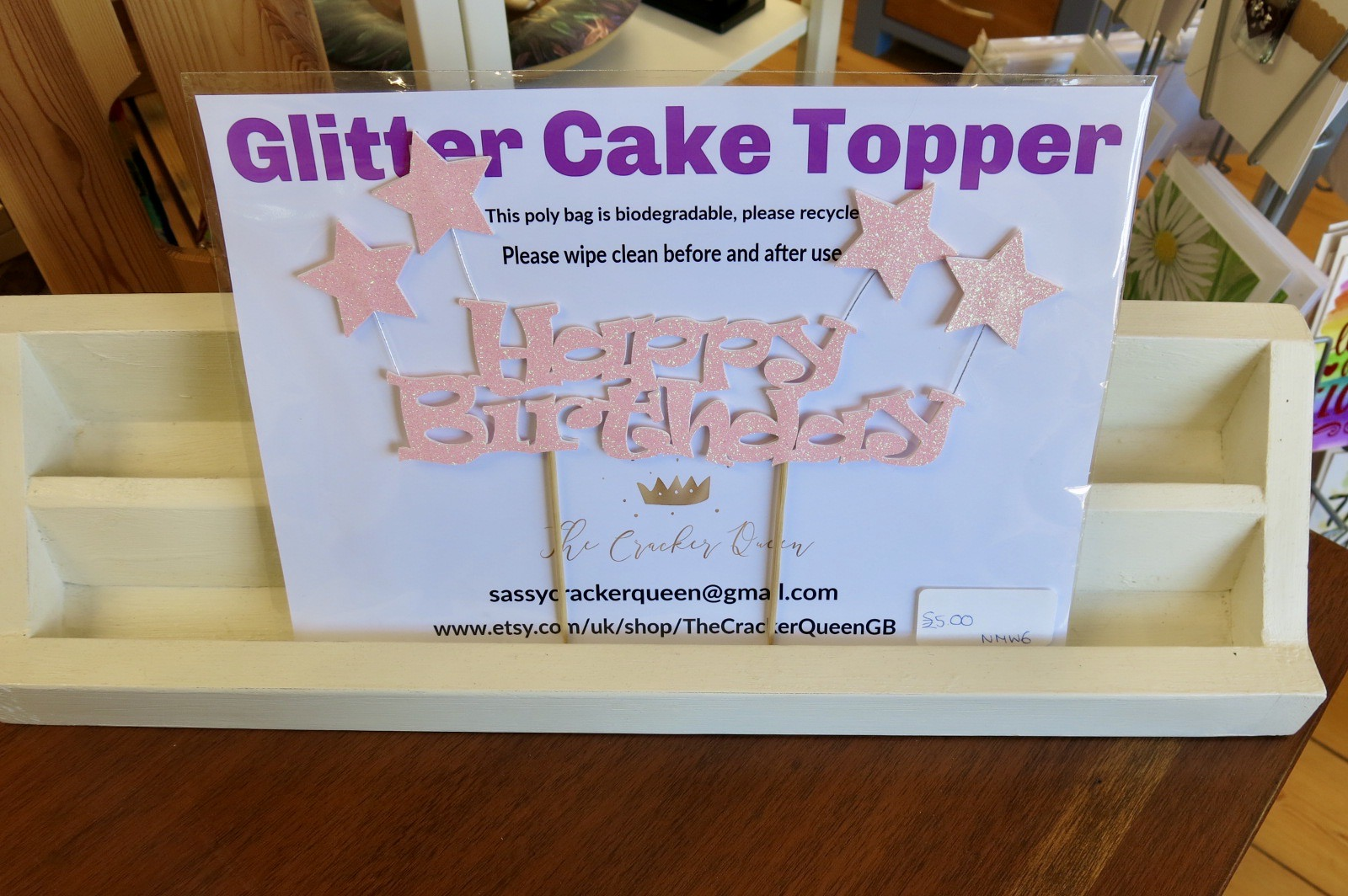 HAPPY BIRTHDAY CAKE TOPPER WITH STARS