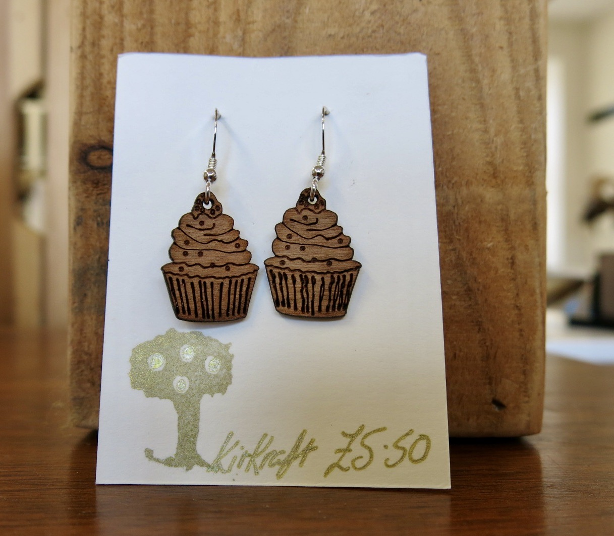WOODEN CUPCAKE EARRINGS