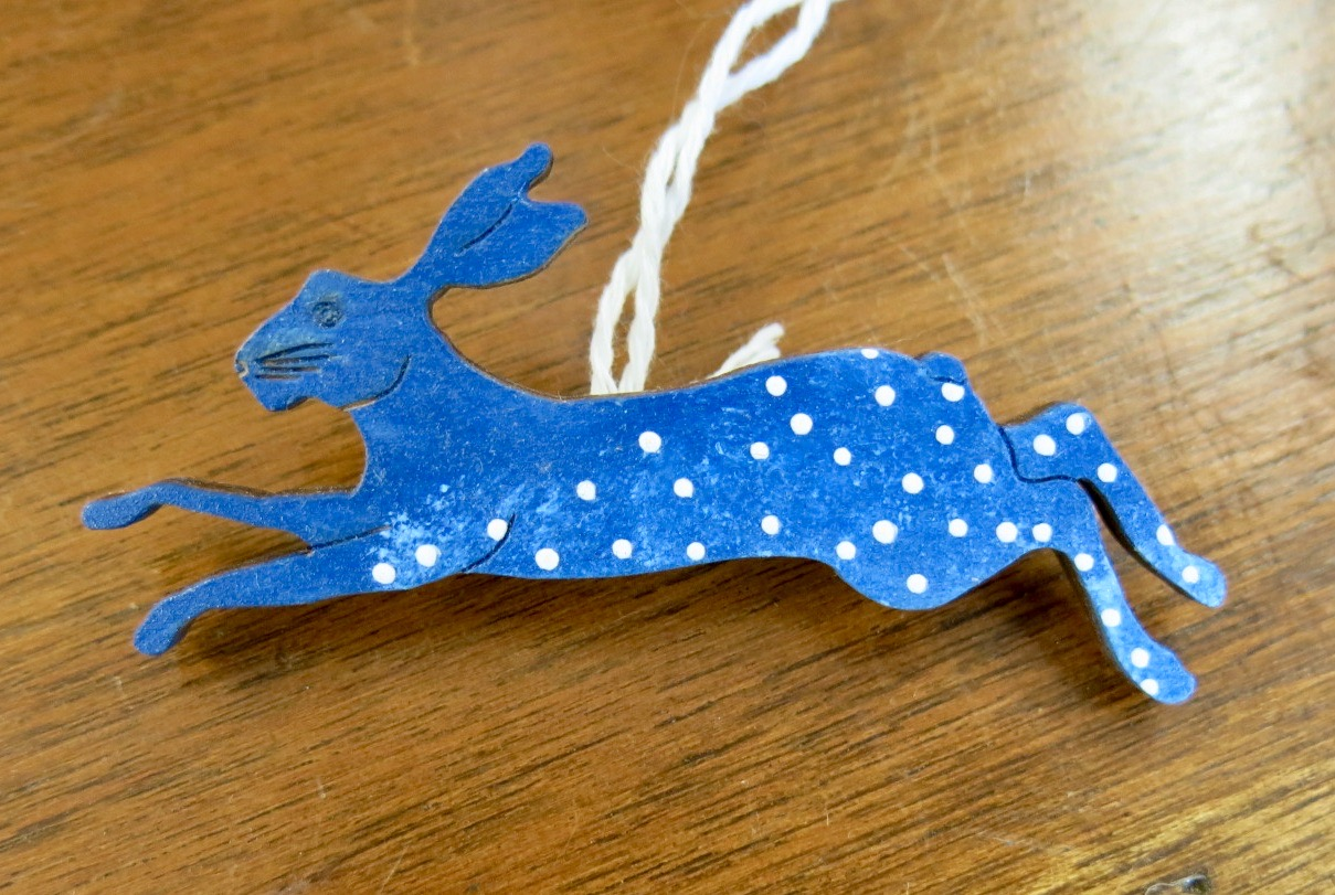 WOODEN HARE BROOCH