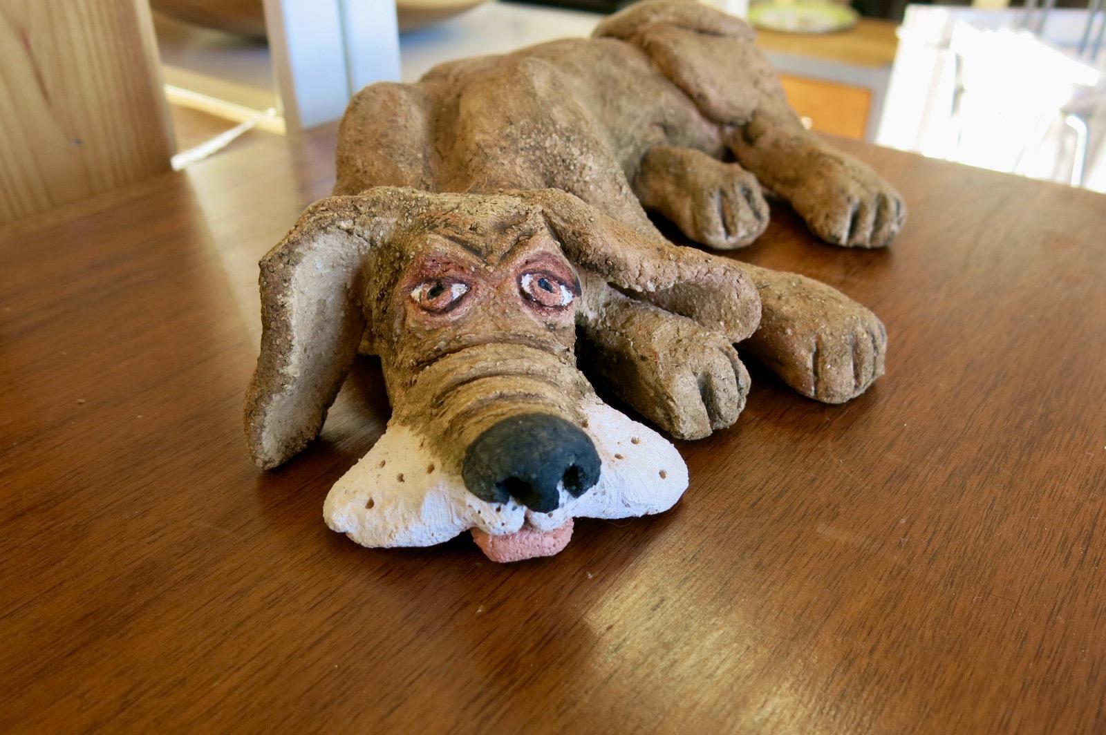 CERAMIC POTTERY BROWN DOG