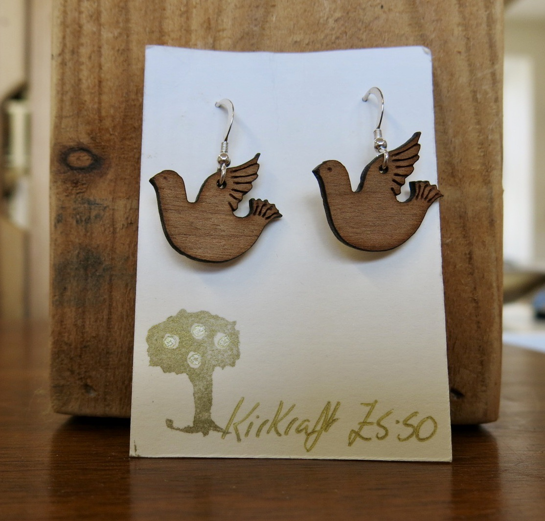 WOODEN DOVE EARRINGS
