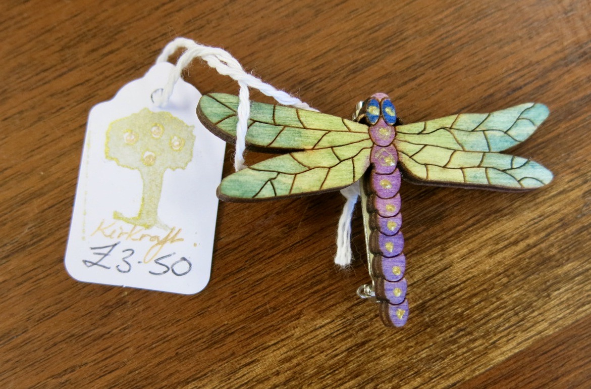 WOODEN DRAGONFLY BROOCH