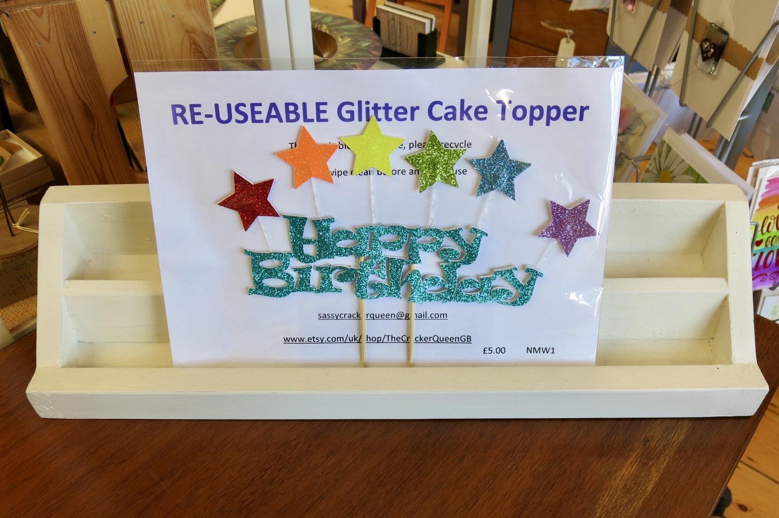HAPPY BIRTHDAY RAINBOW STAR CAKE TOPPER
