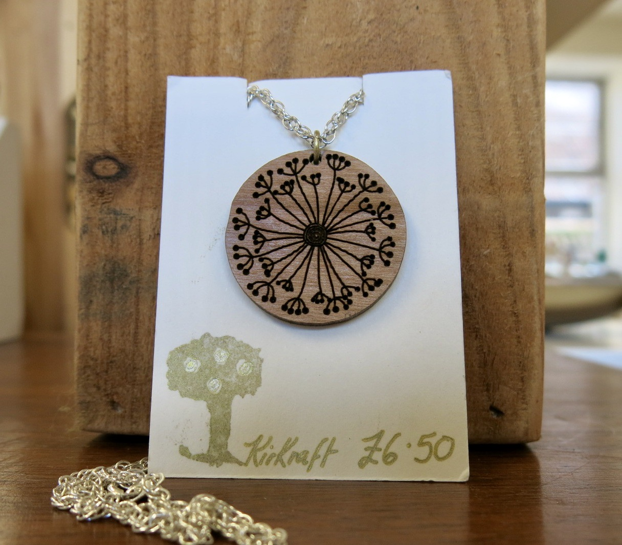 WOODEN DANDELION NECKLACE