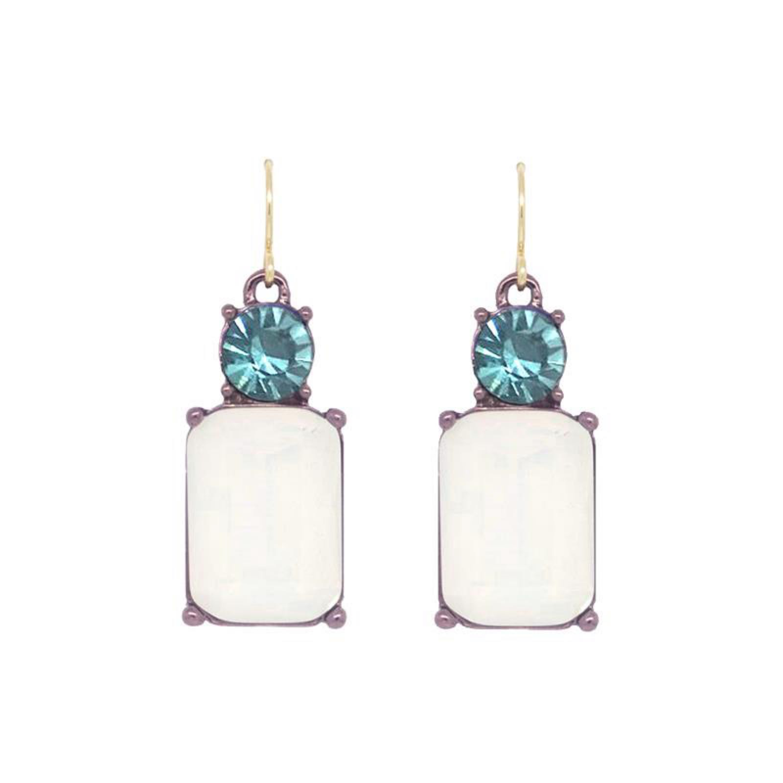 Last True Angel Simple Gem White and Aqua Marine Earrings