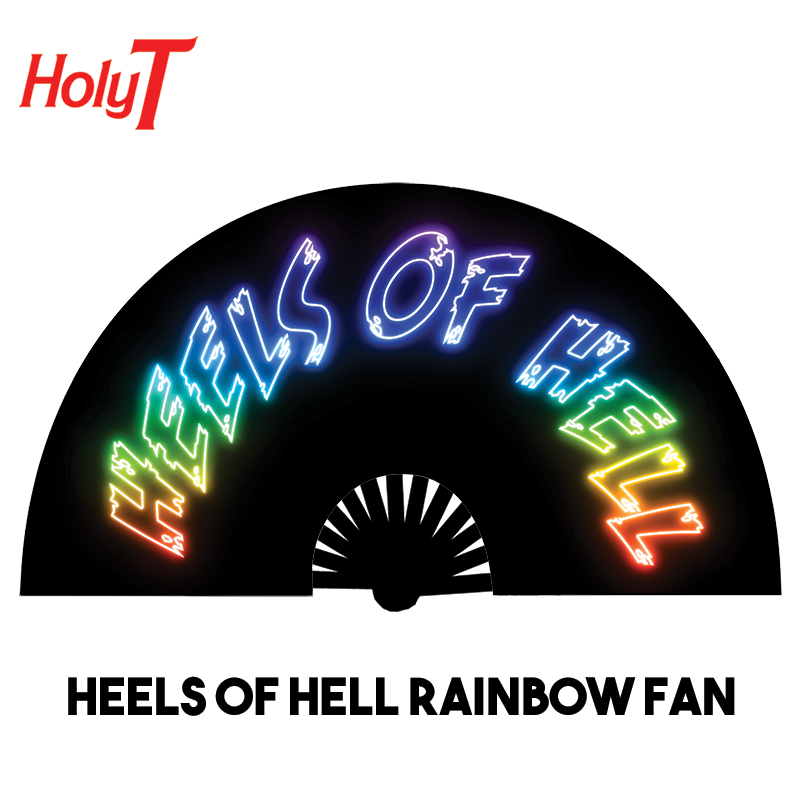 Heels of Hell Rainbow Large Fan (Black)
