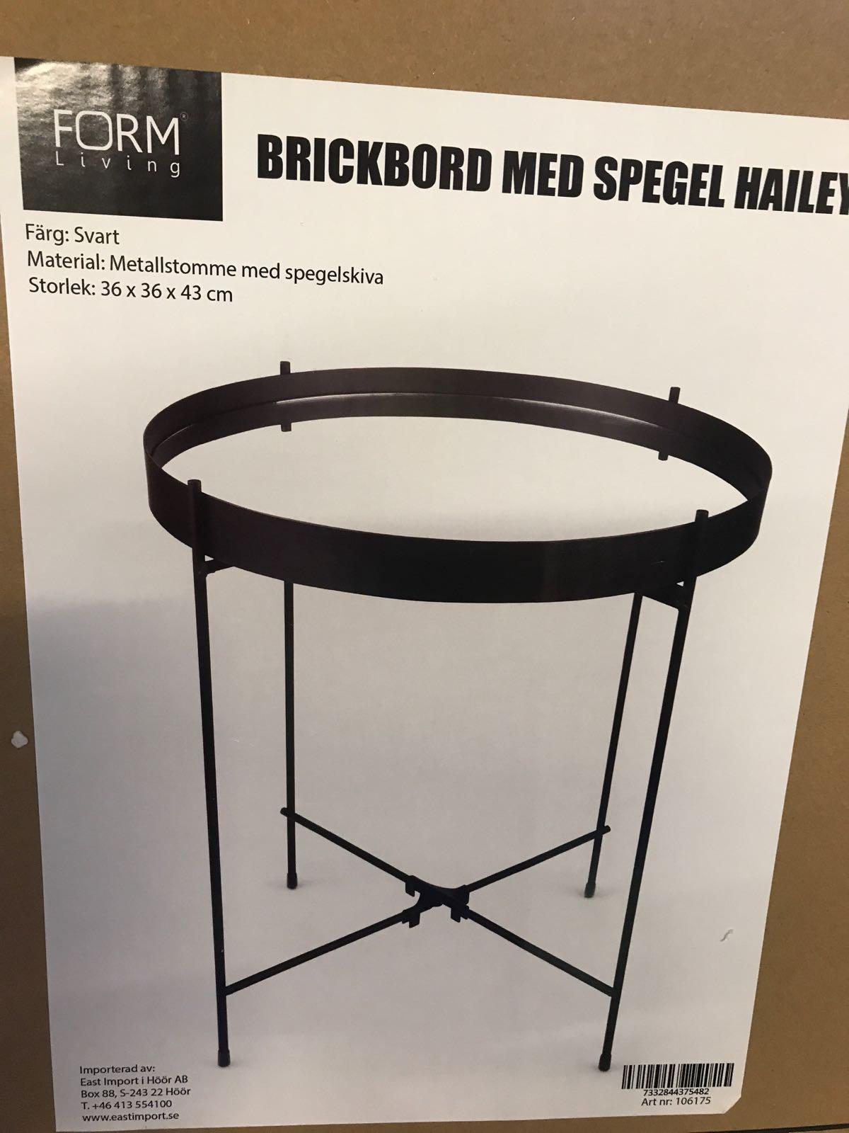 Brickbord med spegel, svart.  36x36x43 cm.