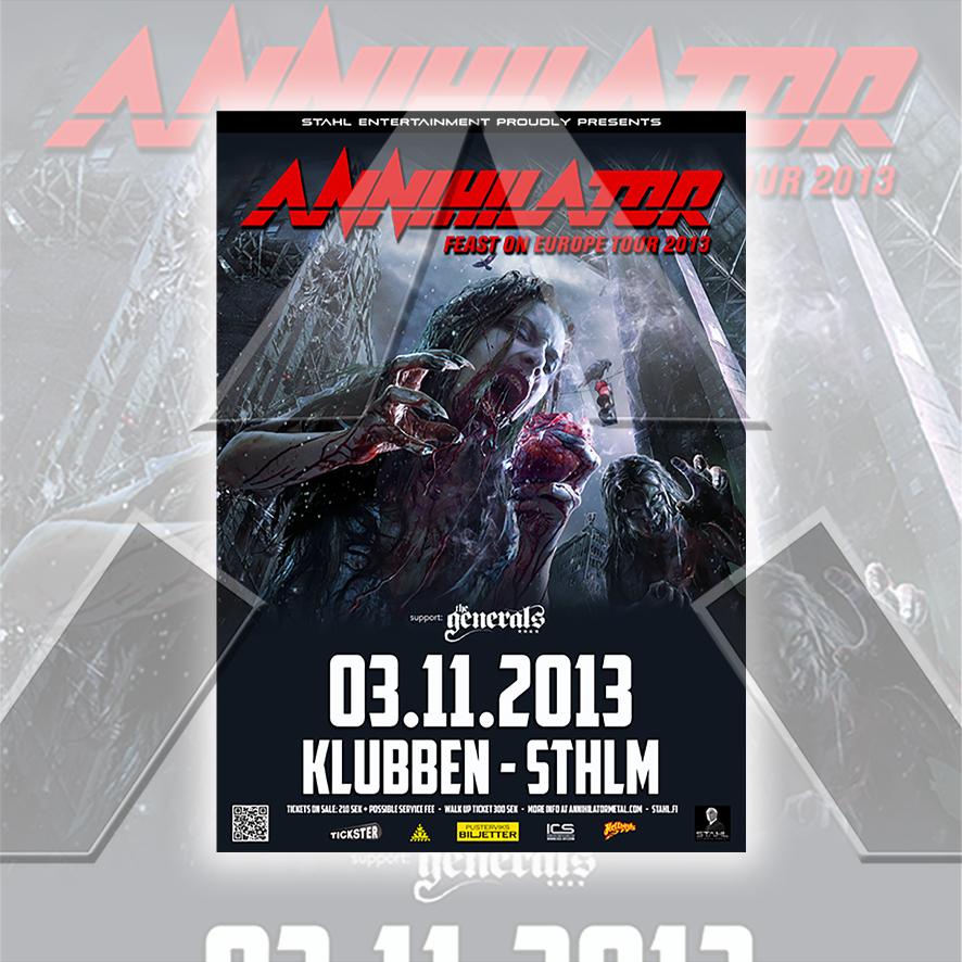 Annihilator ★ Feast on Europe Tour 2013 (tour poster - 2 versions)