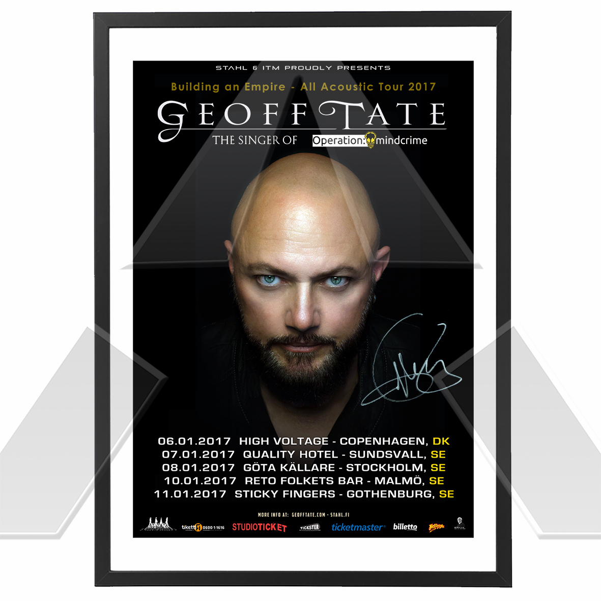 Geoff Tate ★ All Acoustic Nordic Tour 2017 (tour poster signed)